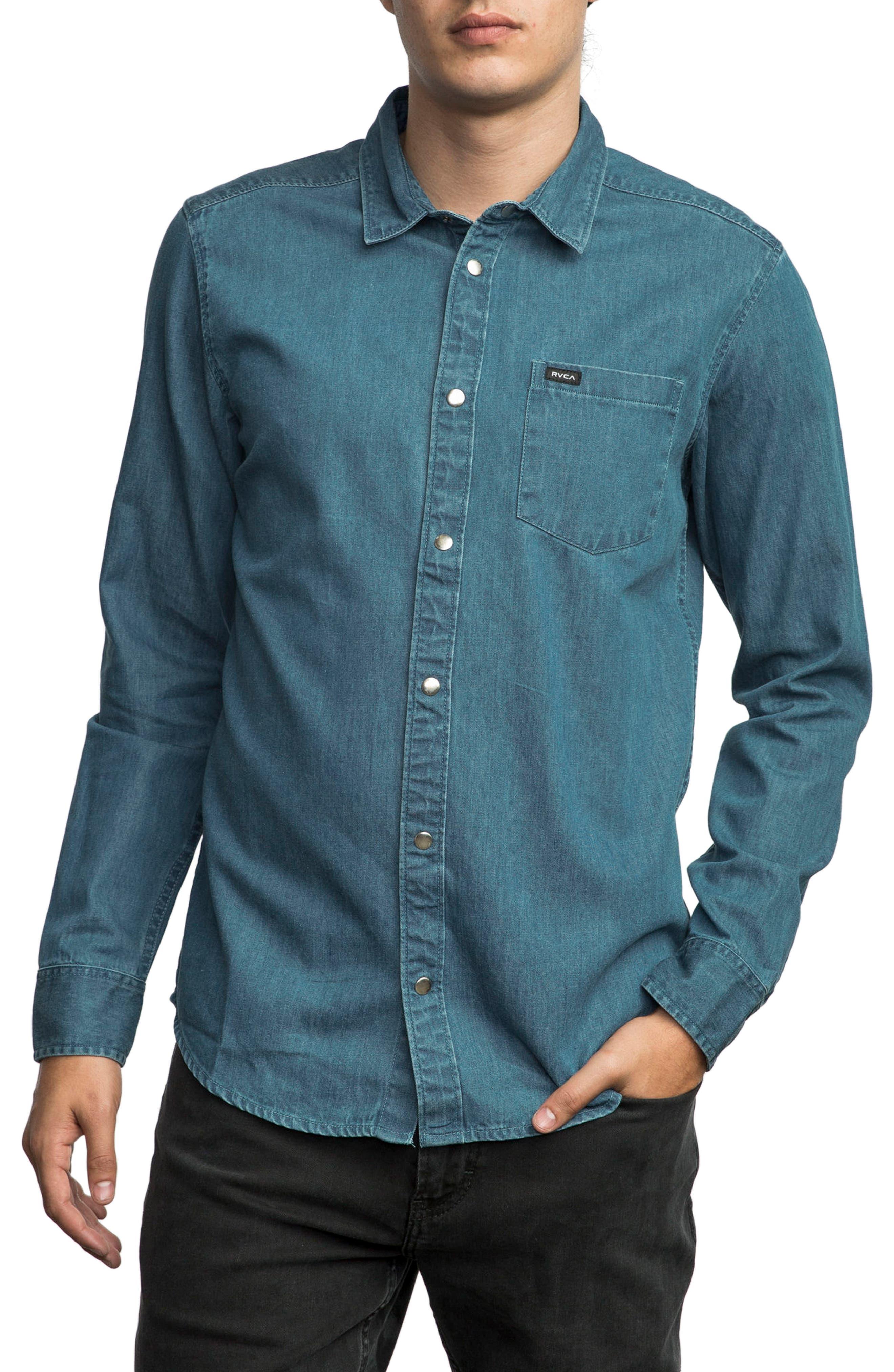 Alternate Image 1 Selected - RVCA Mason Snap Front Chambray Shirt