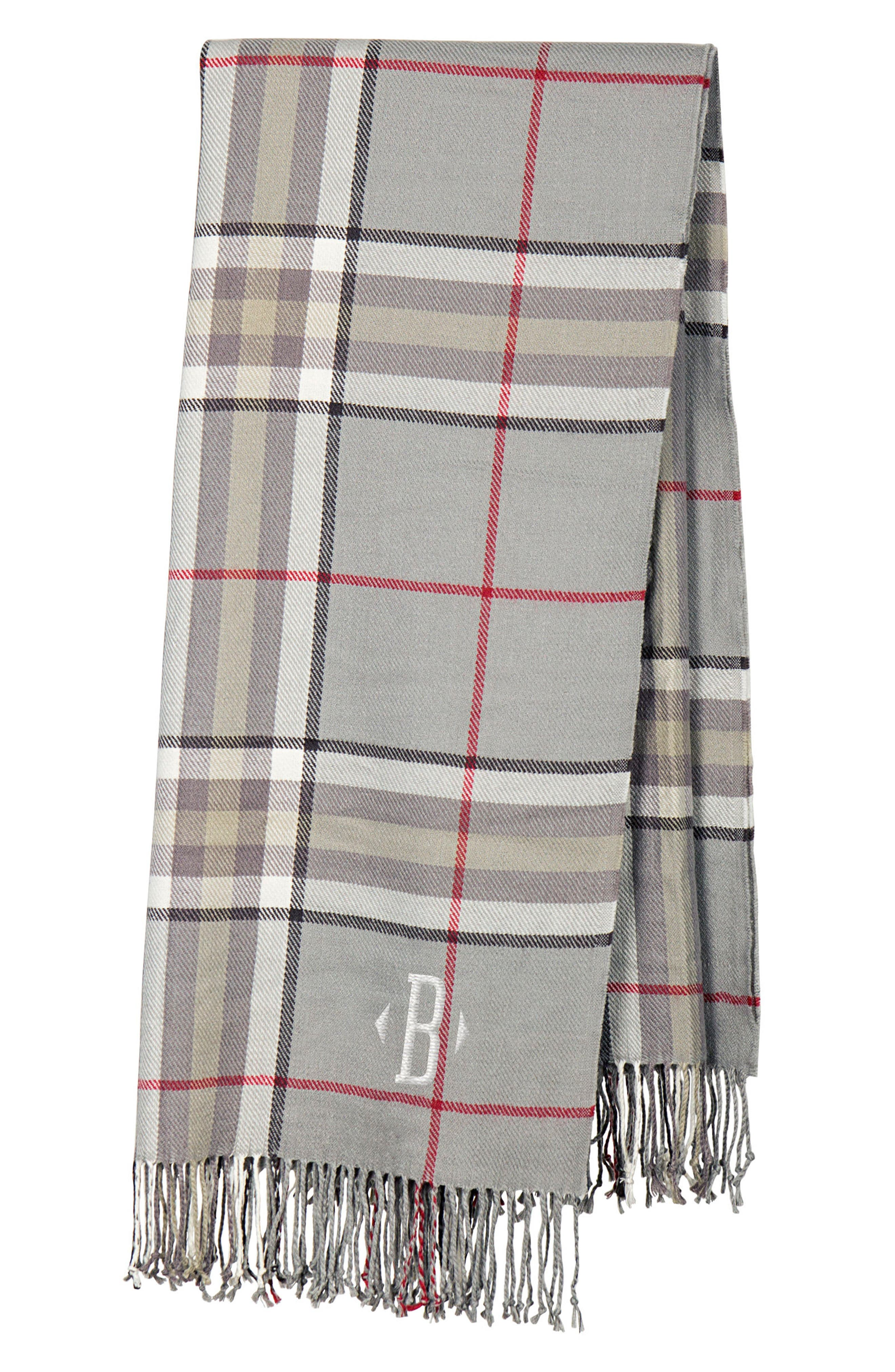 Monogram Plaid Throw,                         Main,                         color, Grey-B