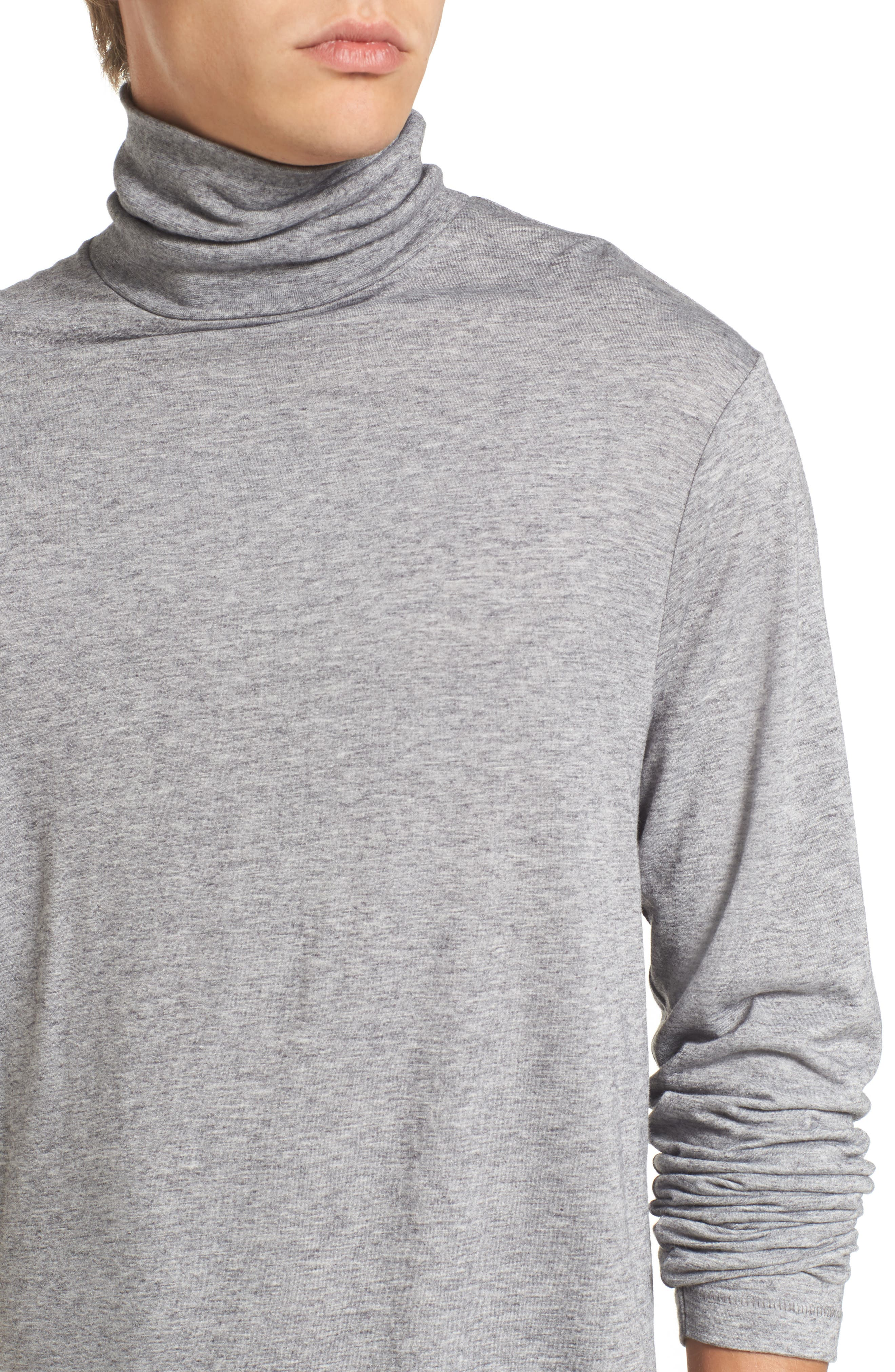 Lightweight Turtleneck Sweater,                             Alternate thumbnail 4, color,                             Grey Melange