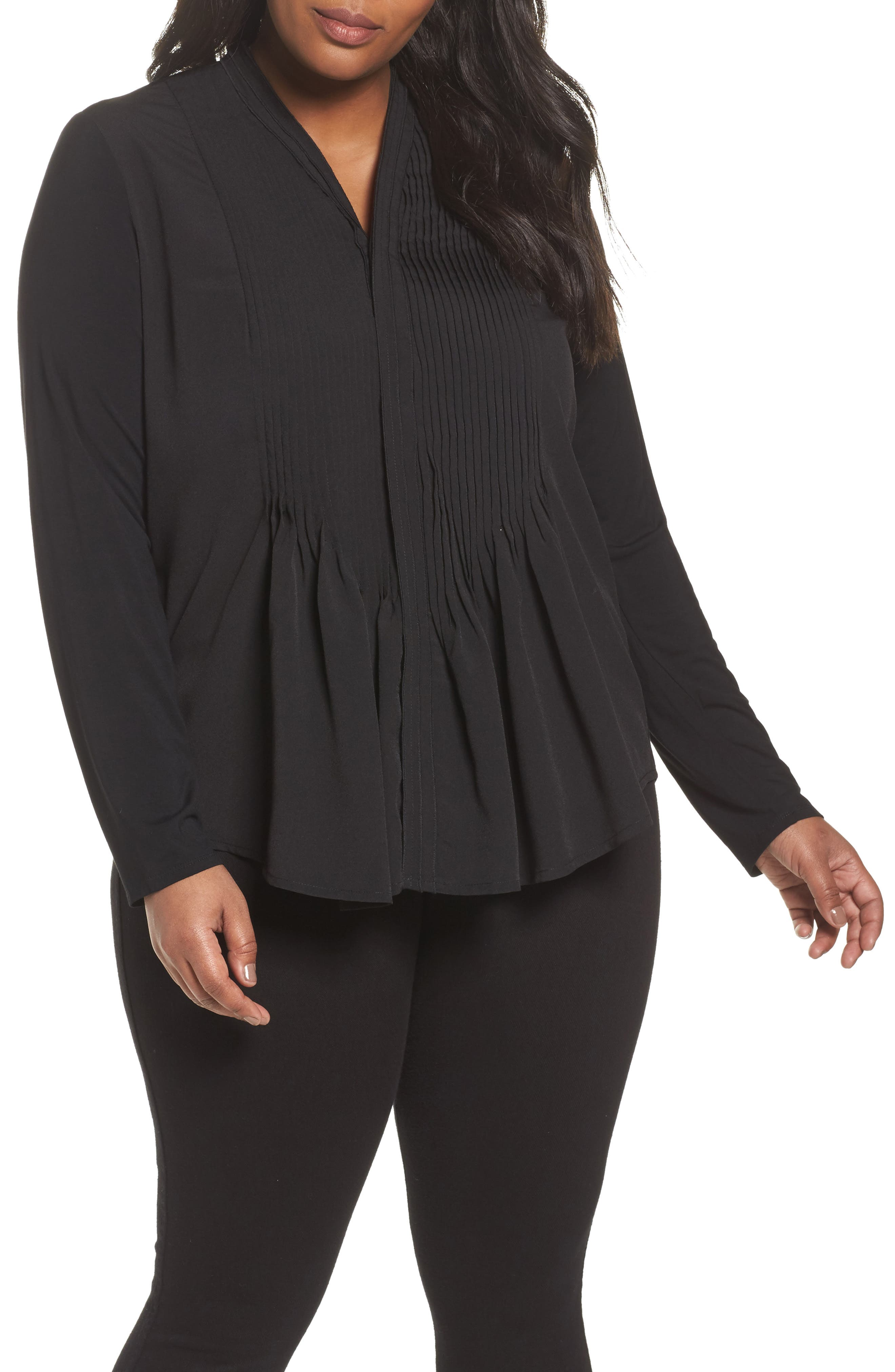 Alternate Image 1 Selected - Foxcroft Carrie Crepe & Jersey Top (Plus Size)