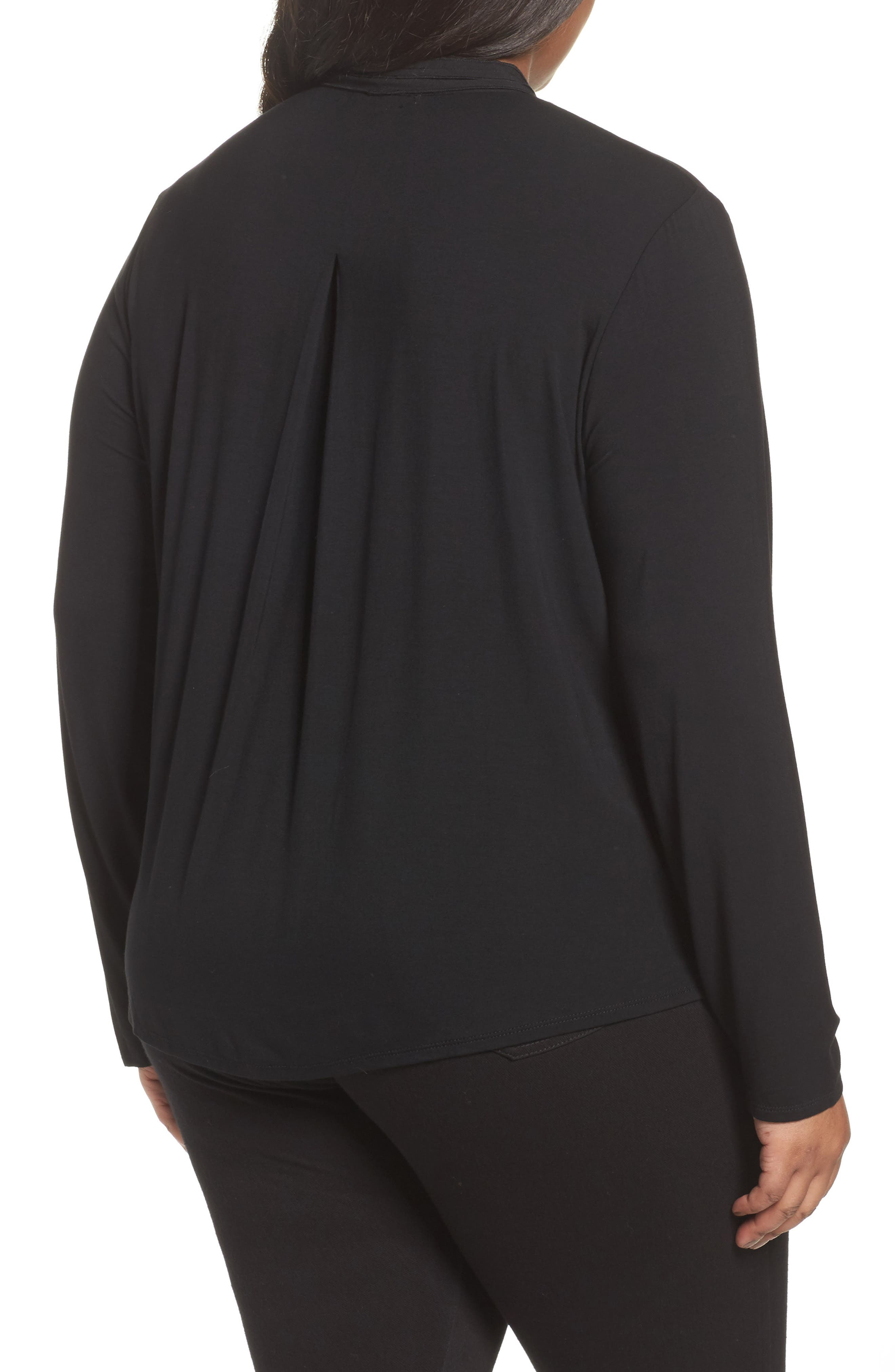 Alternate Image 2  - Foxcroft Carrie Crepe & Jersey Top (Plus Size)