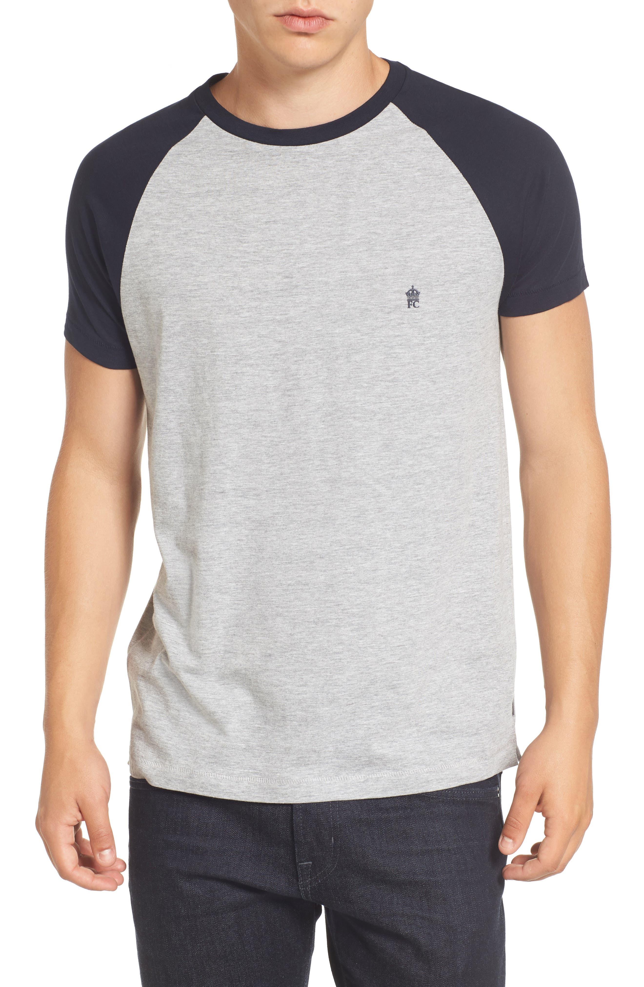 Raglan Short Sleeve T-Shirt,                         Main,                         color, Lt Grey Mel/ Marine
