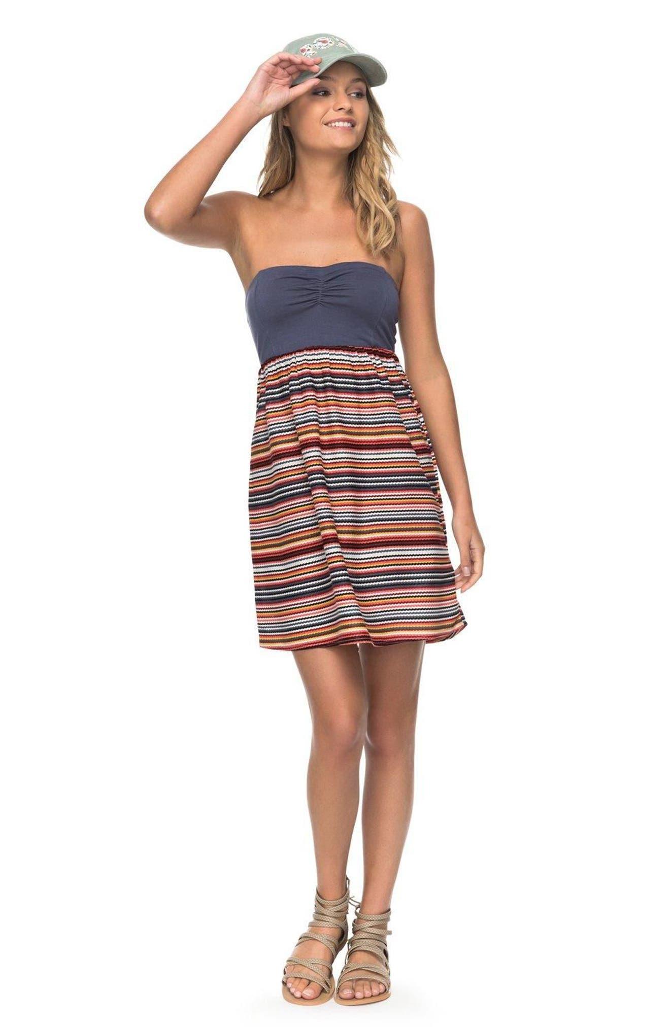Ocean Romance Strapless Dress,                             Alternate thumbnail 2, color,                             Rio Red Zigzag Stripe