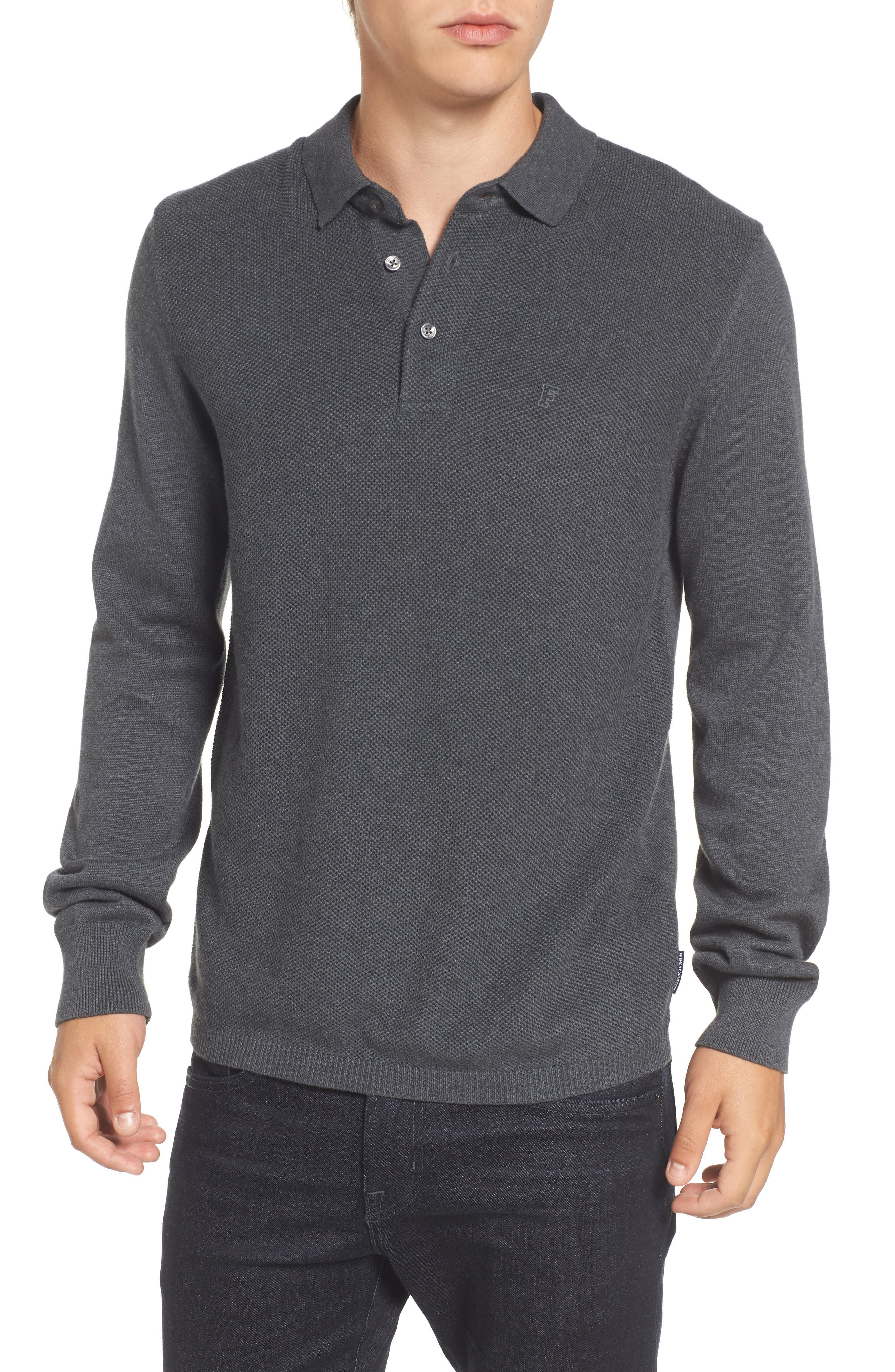 French Connection Textured Long Sleeve Polo