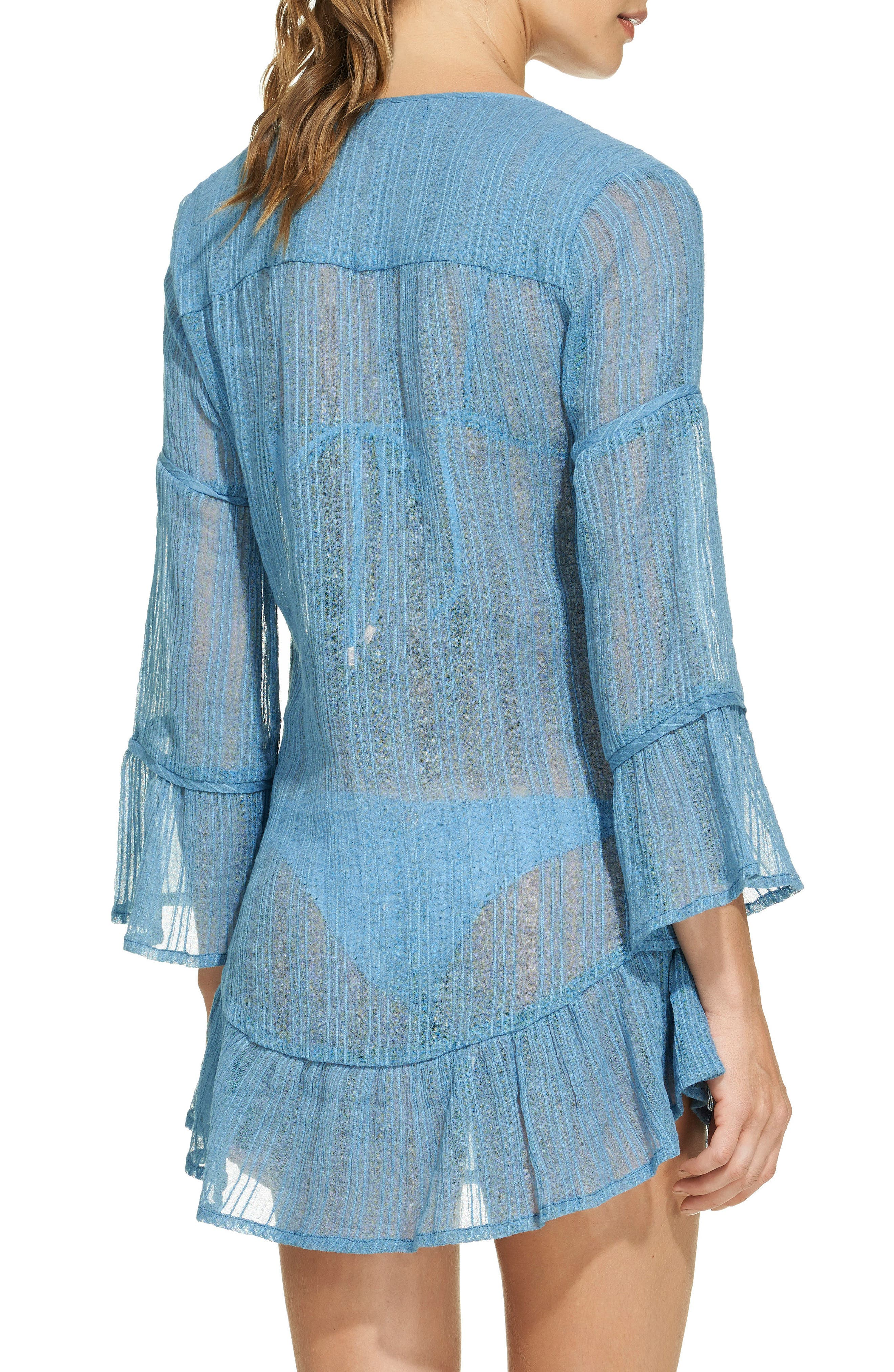 Ruffle Cloud Cover-Up Tunic,                             Alternate thumbnail 2, color,                             Blue