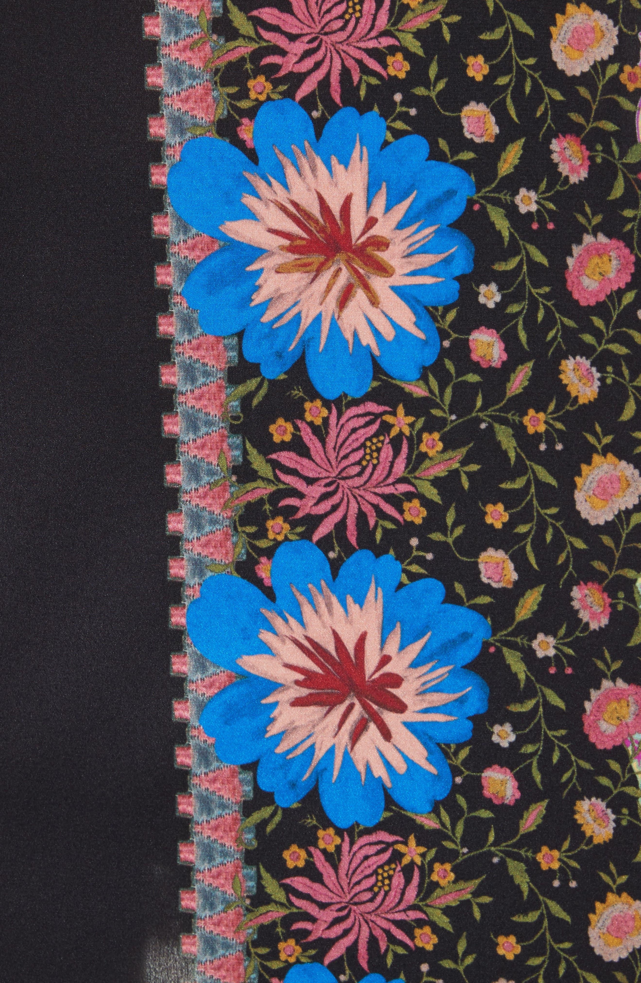 Fringe Trim Floral Paisley Silk Poncho,                             Alternate thumbnail 5, color,                             Multi