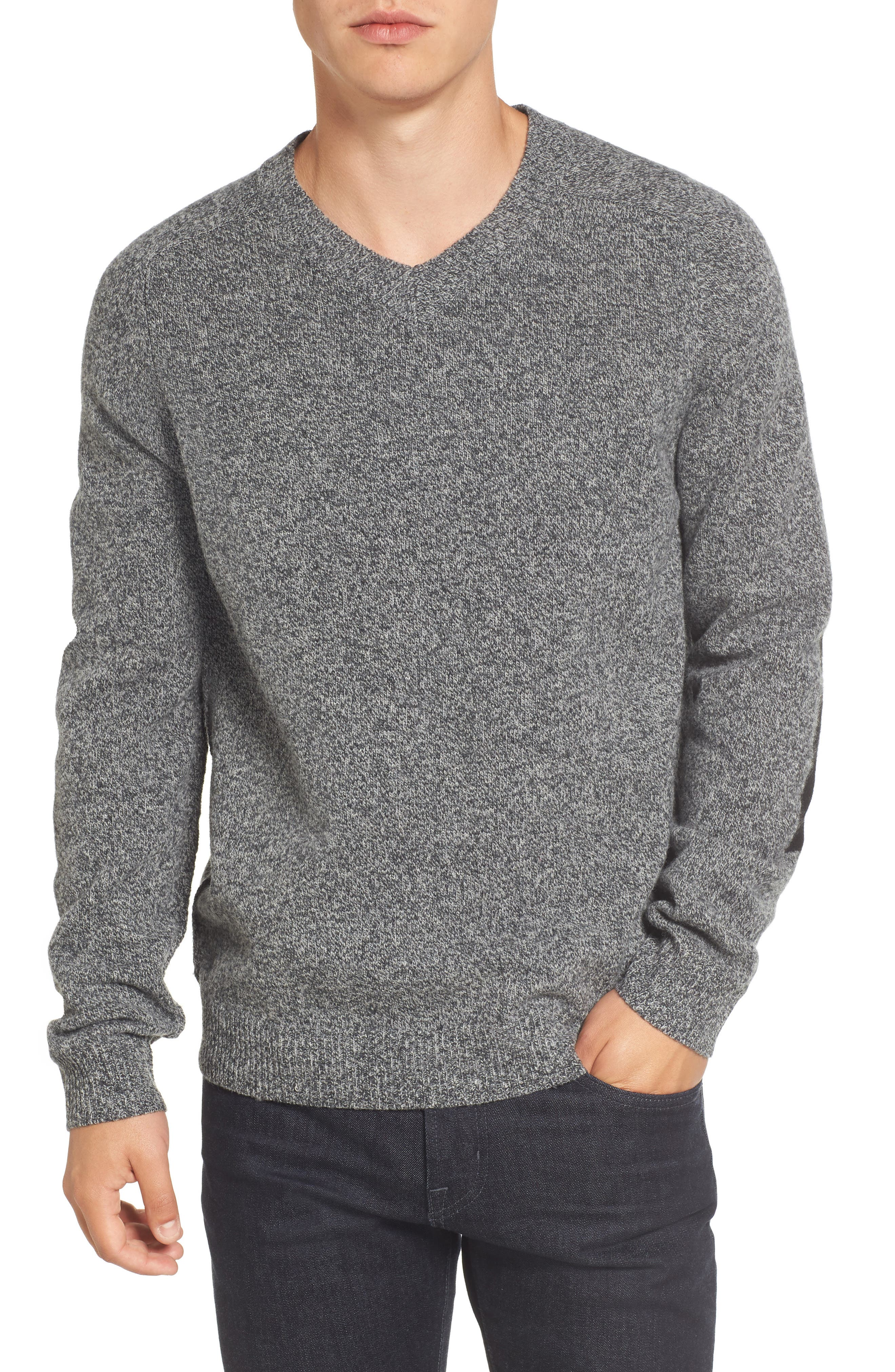 Elbow Patch Sweater,                         Main,                         color, Charcoal Twist/ Black