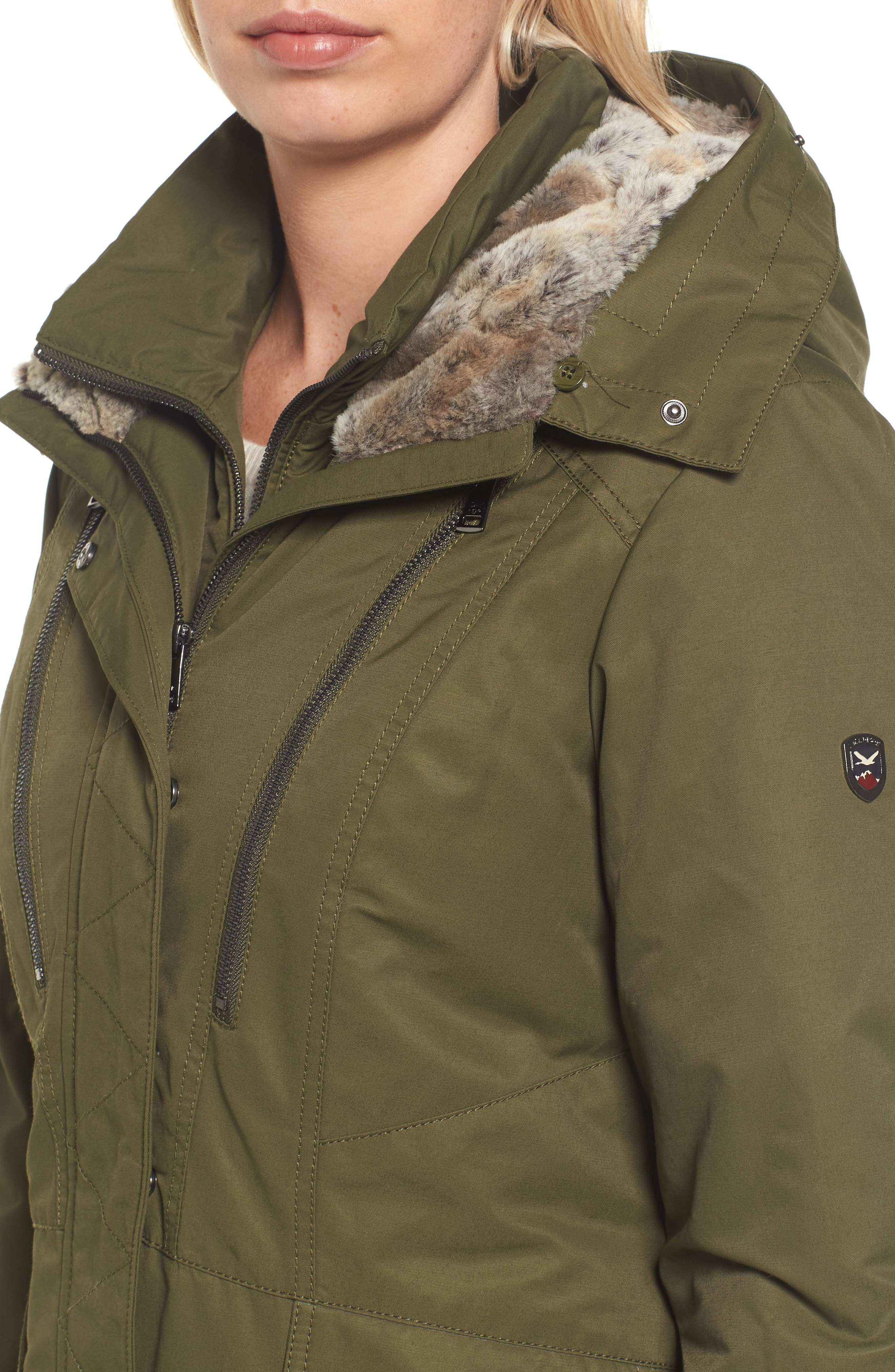 Insulated Parka with Faux Fur Trim,                             Alternate thumbnail 4, color,                             Olive