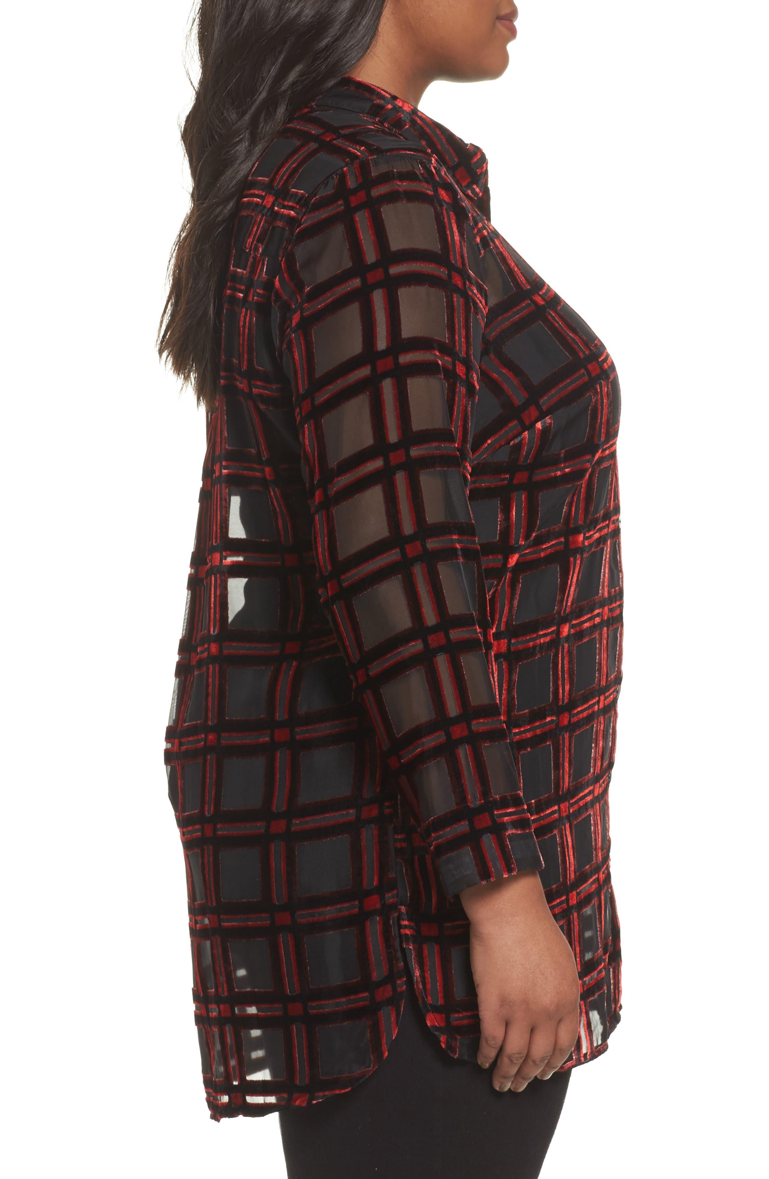 Alternate Image 3  - Foxcroft Jade Burnout Tartan Shirt (Plus Size)