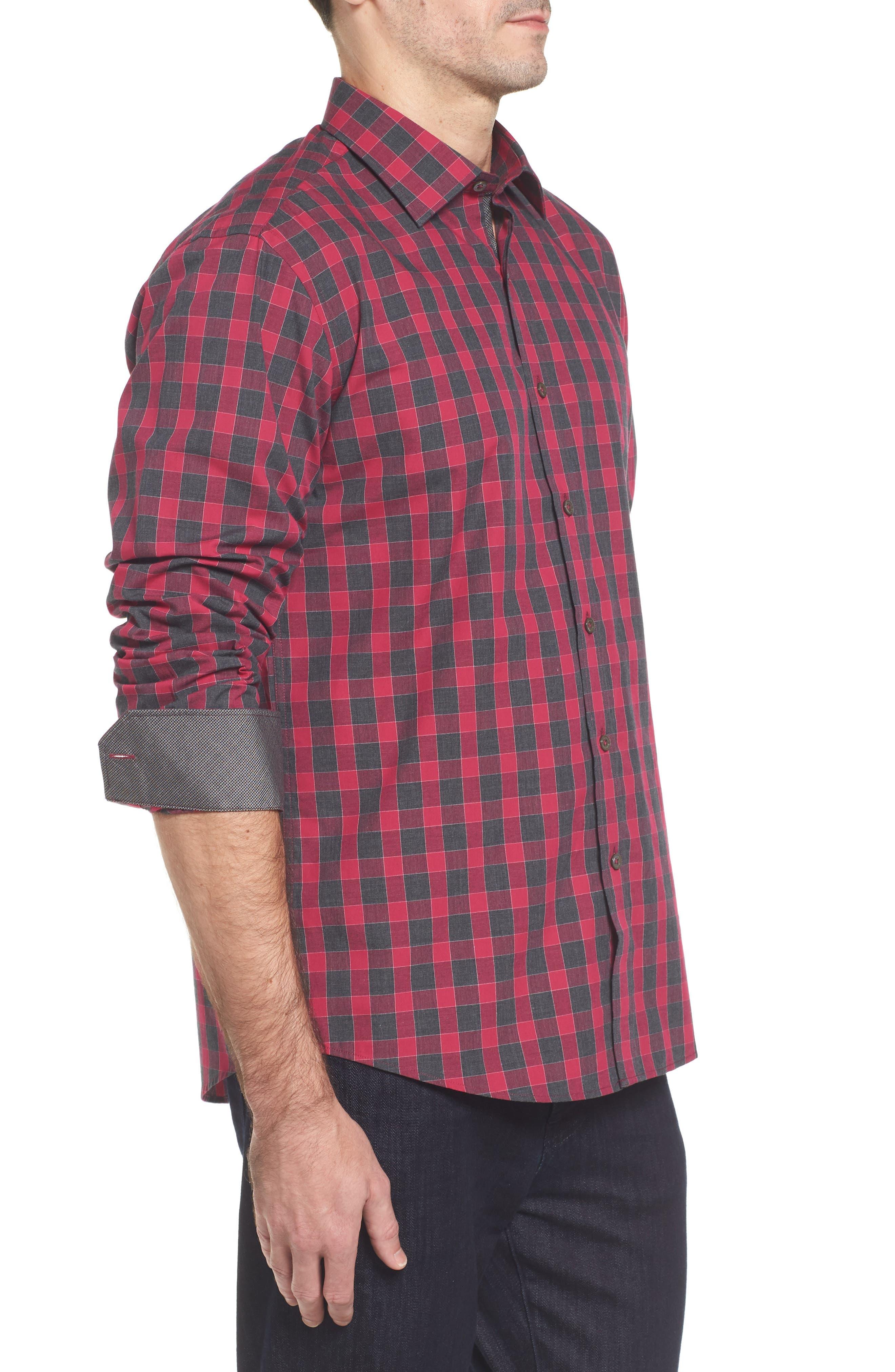 Slim Fit Check Sport Shirt,                             Alternate thumbnail 3, color,                             Fuchsia