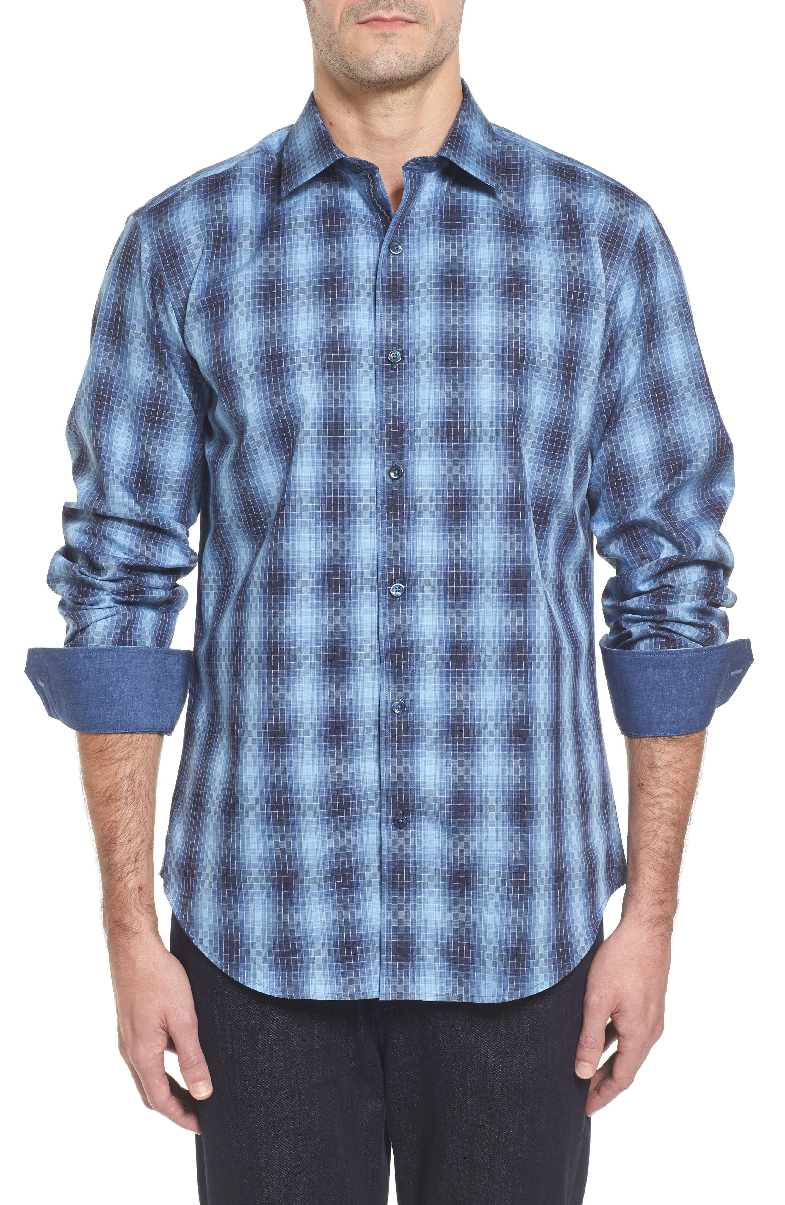Slim Fit Gradient Check Sport Shirt,                         Main,                         color, Cobalt