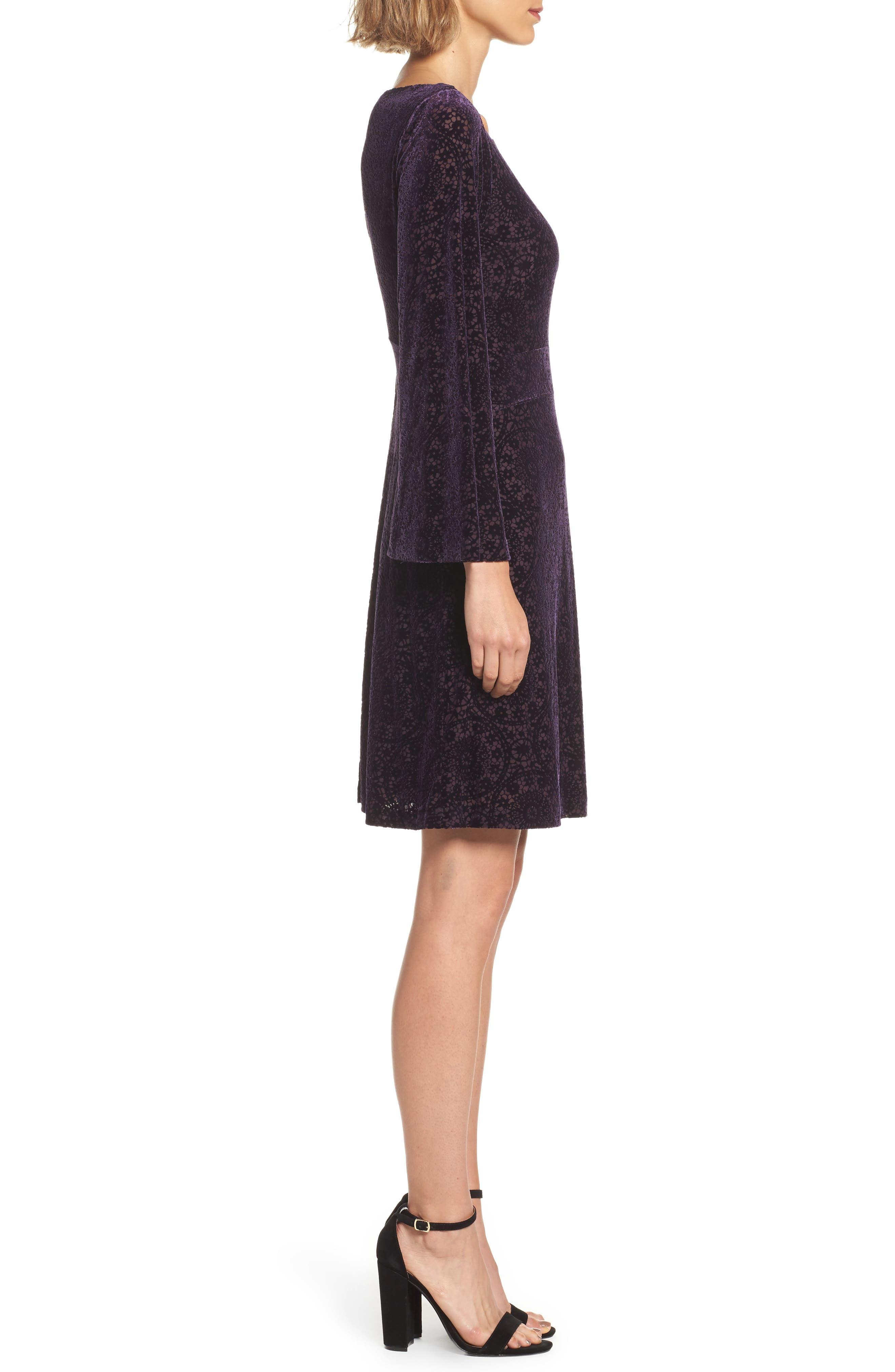 Velvet Burnout Bell Sleeve Dress,                             Alternate thumbnail 3, color,                             Eggplant