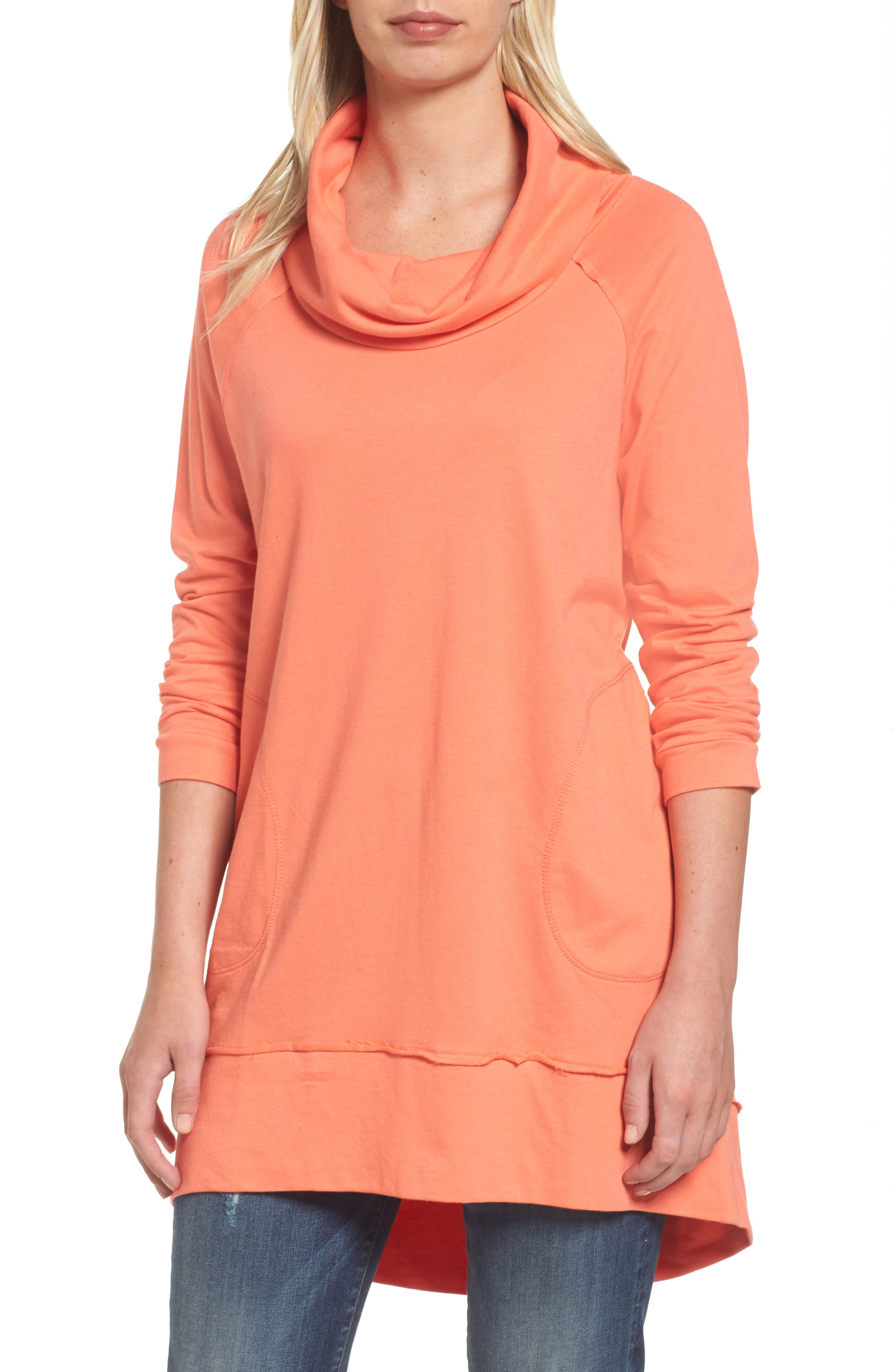 Cowl Neck Tunic Sweatshirt,                             Main thumbnail 1, color,                             Coral Sea