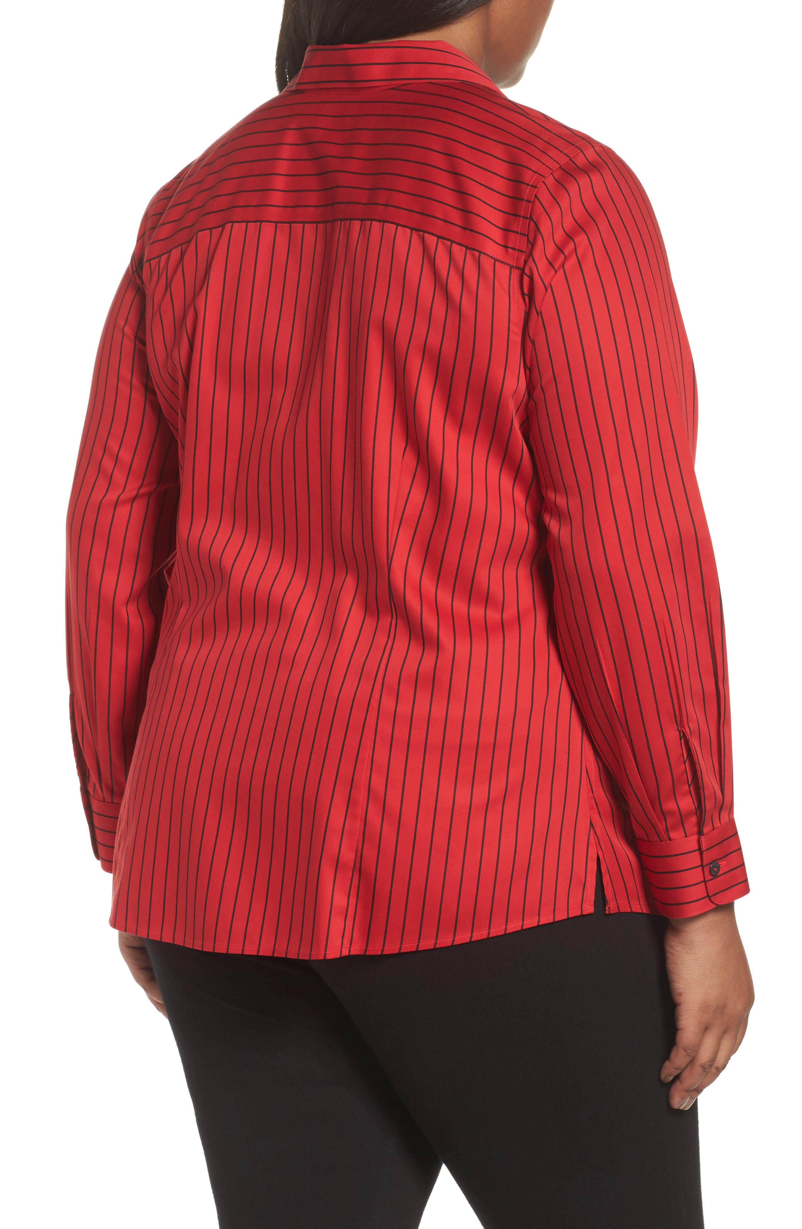 Alternate Image 2  - Foxcroft Annie Holiday Stripe Shirt (Plus Size)