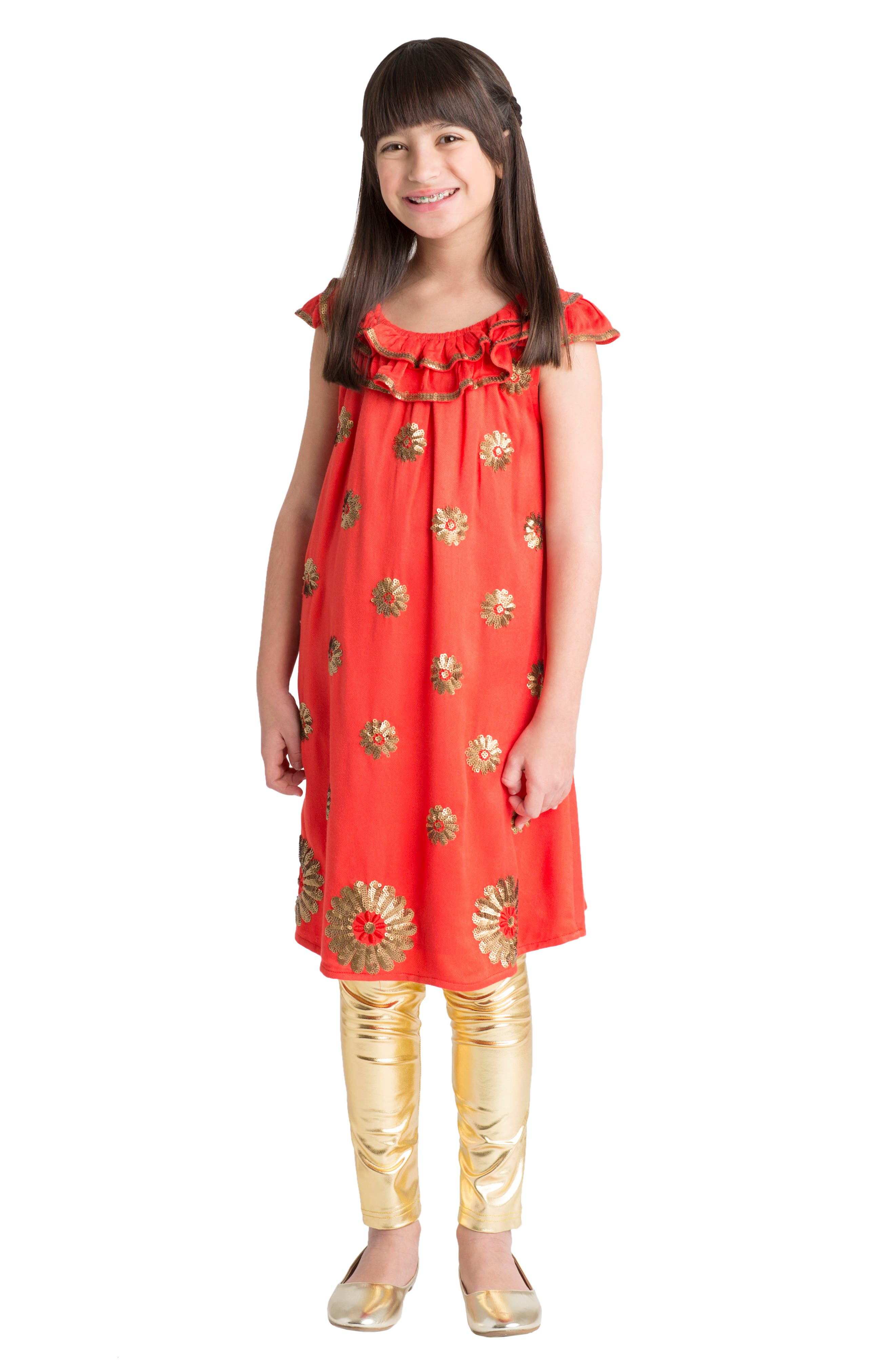 Dahlia Flutter Sleeve Dress,                             Alternate thumbnail 2, color,                             Coral