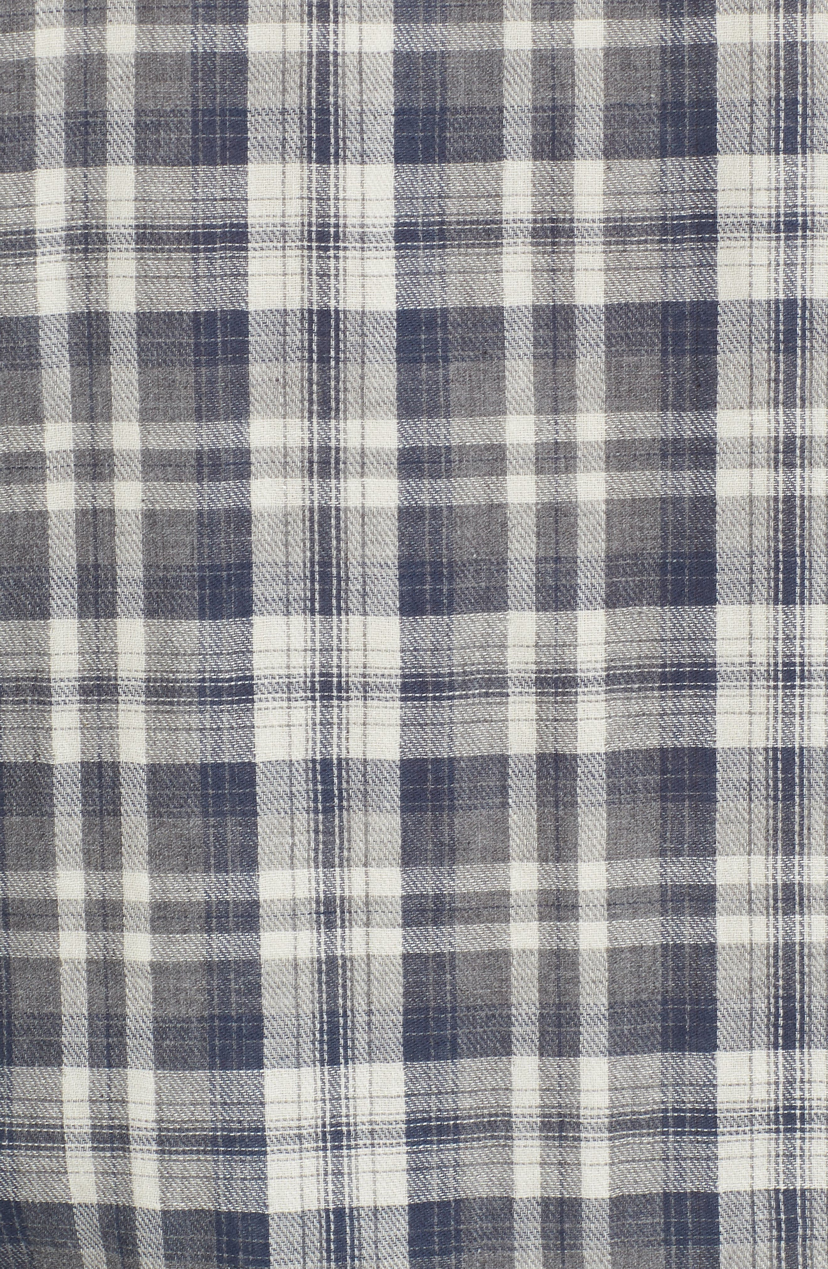 Saratoga Modern Fit Plaid Double Cloth Sport Shirt,                             Alternate thumbnail 5, color,                             Charcoal Navy Stone