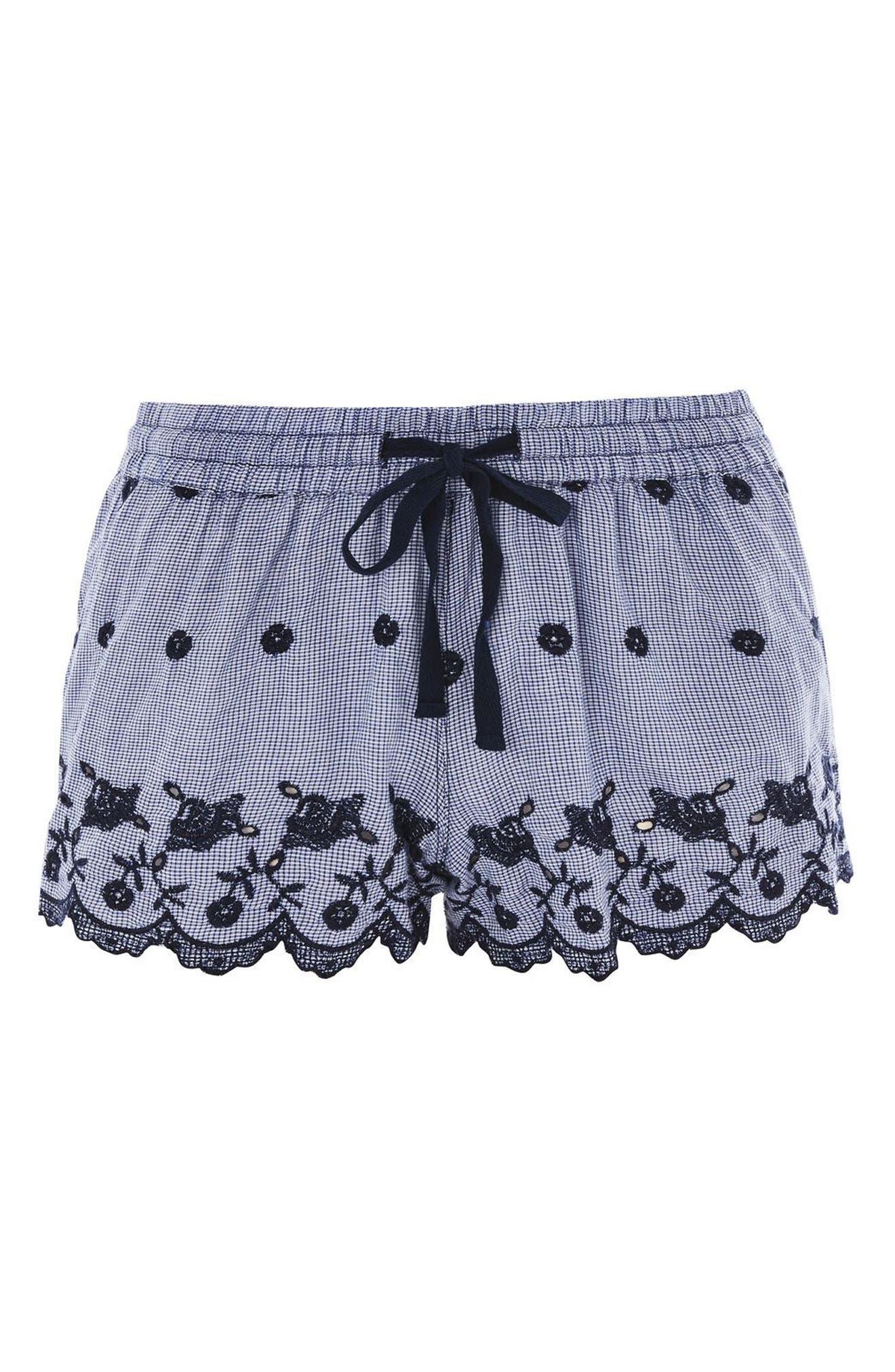 Cotton Gingham Pajama Shorts,                         Main,                         color, Navy Blue