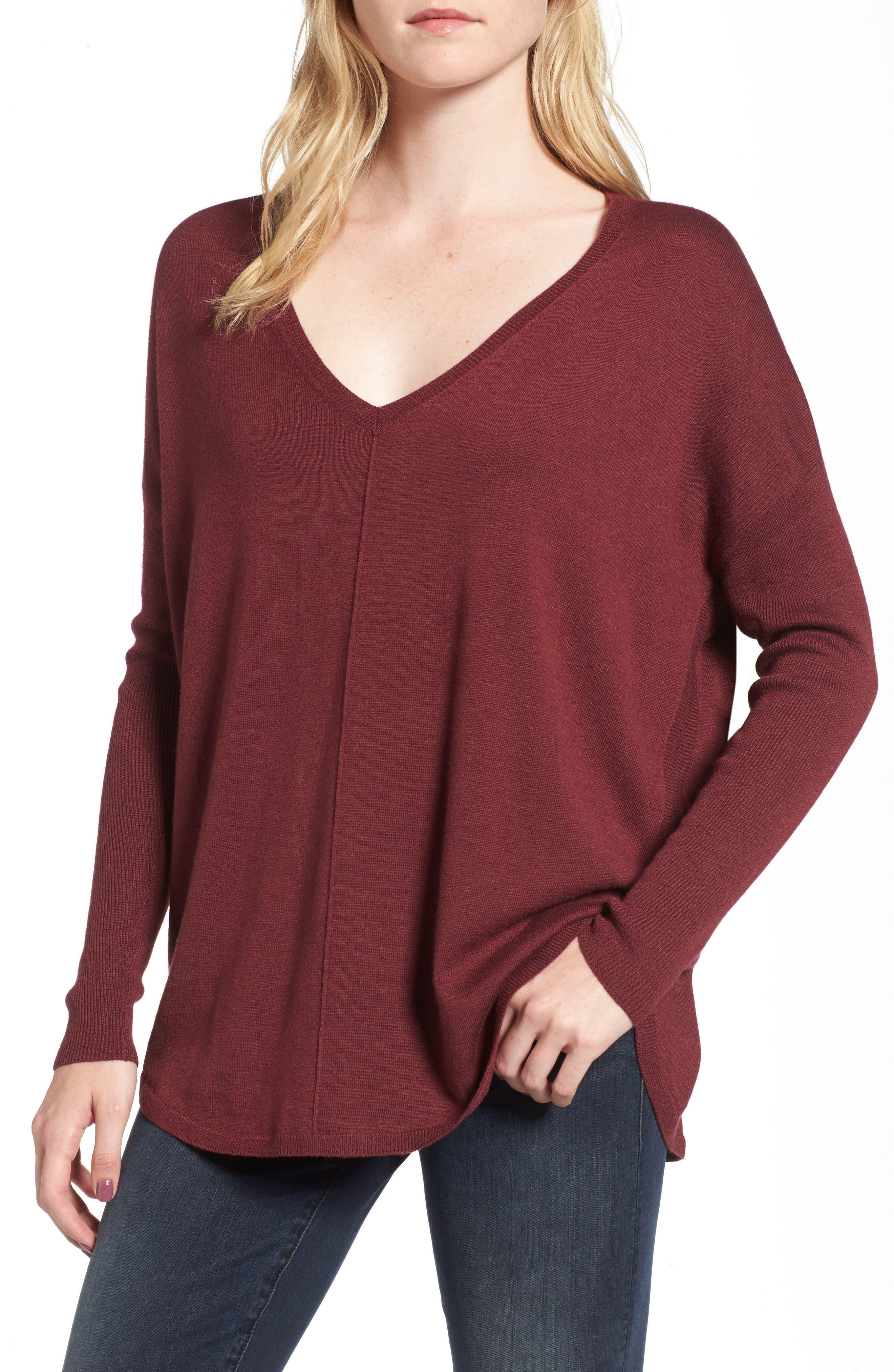 'Everyday' V-Neck Sweater,                             Main thumbnail 1, color,                             Burgundy London