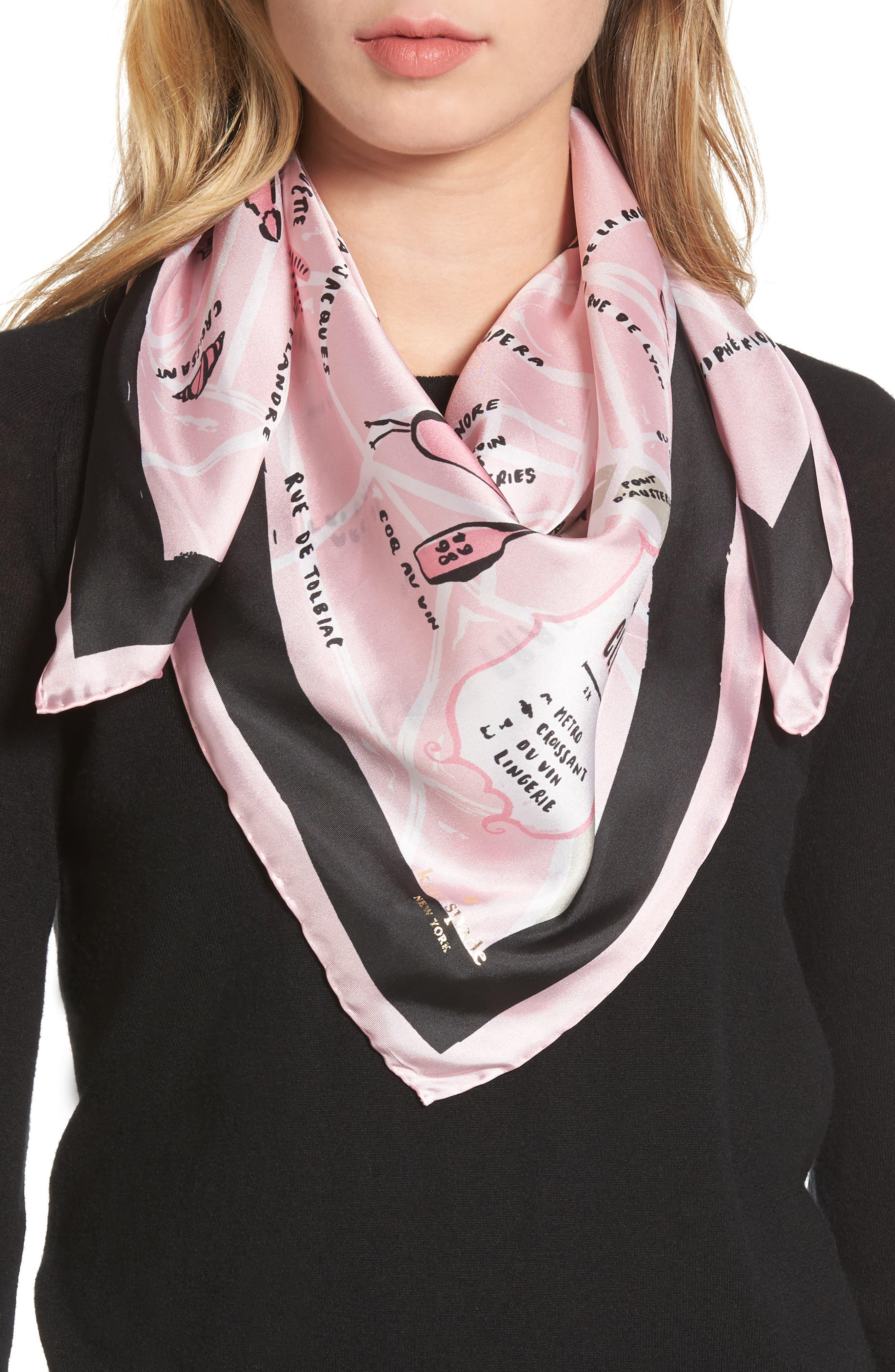 kate spade new york paris map silk square scarf
