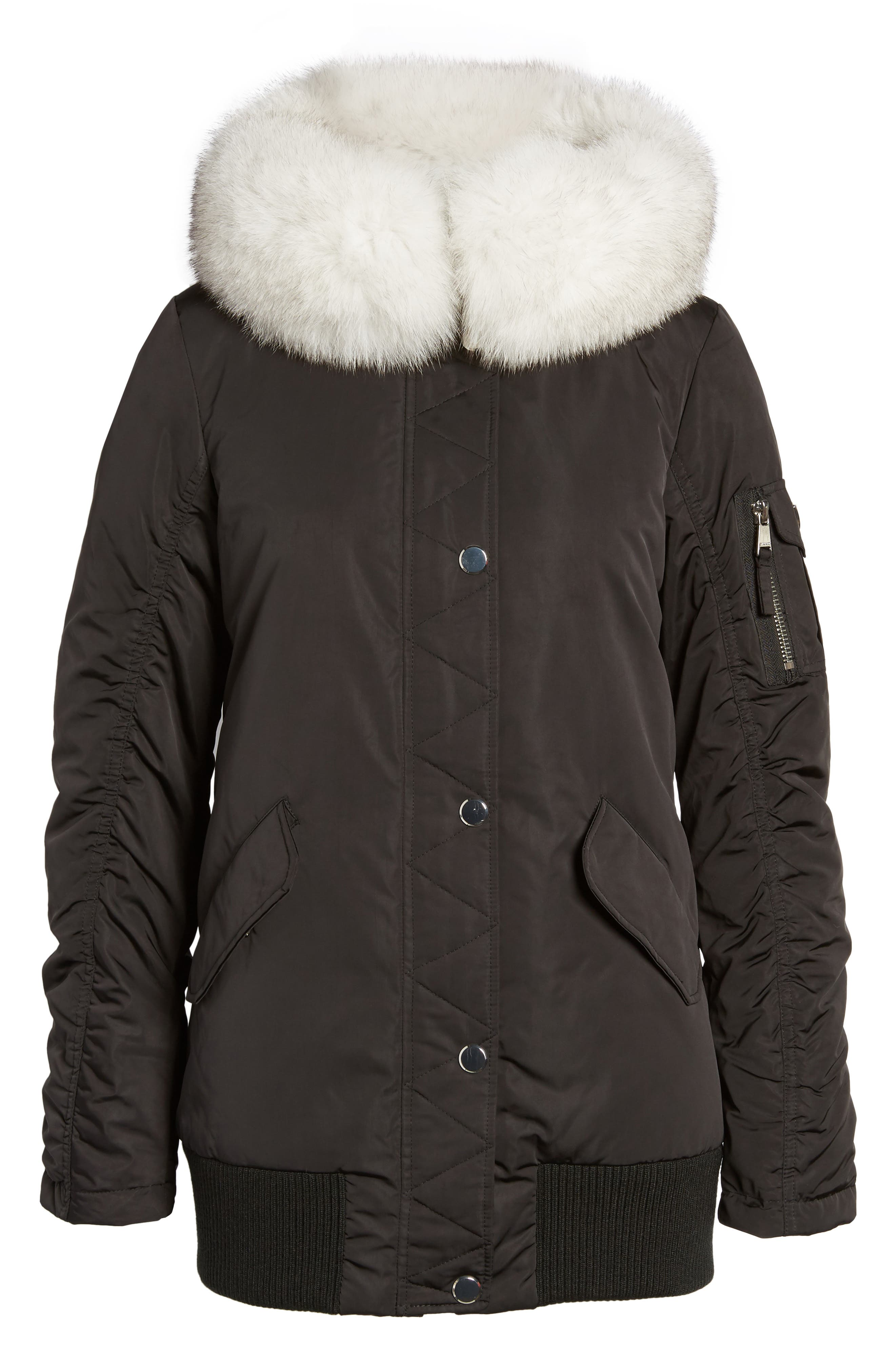 Genuine Fox Fur Trim Down Bomber Jacket,                             Alternate thumbnail 6, color,                             Black
