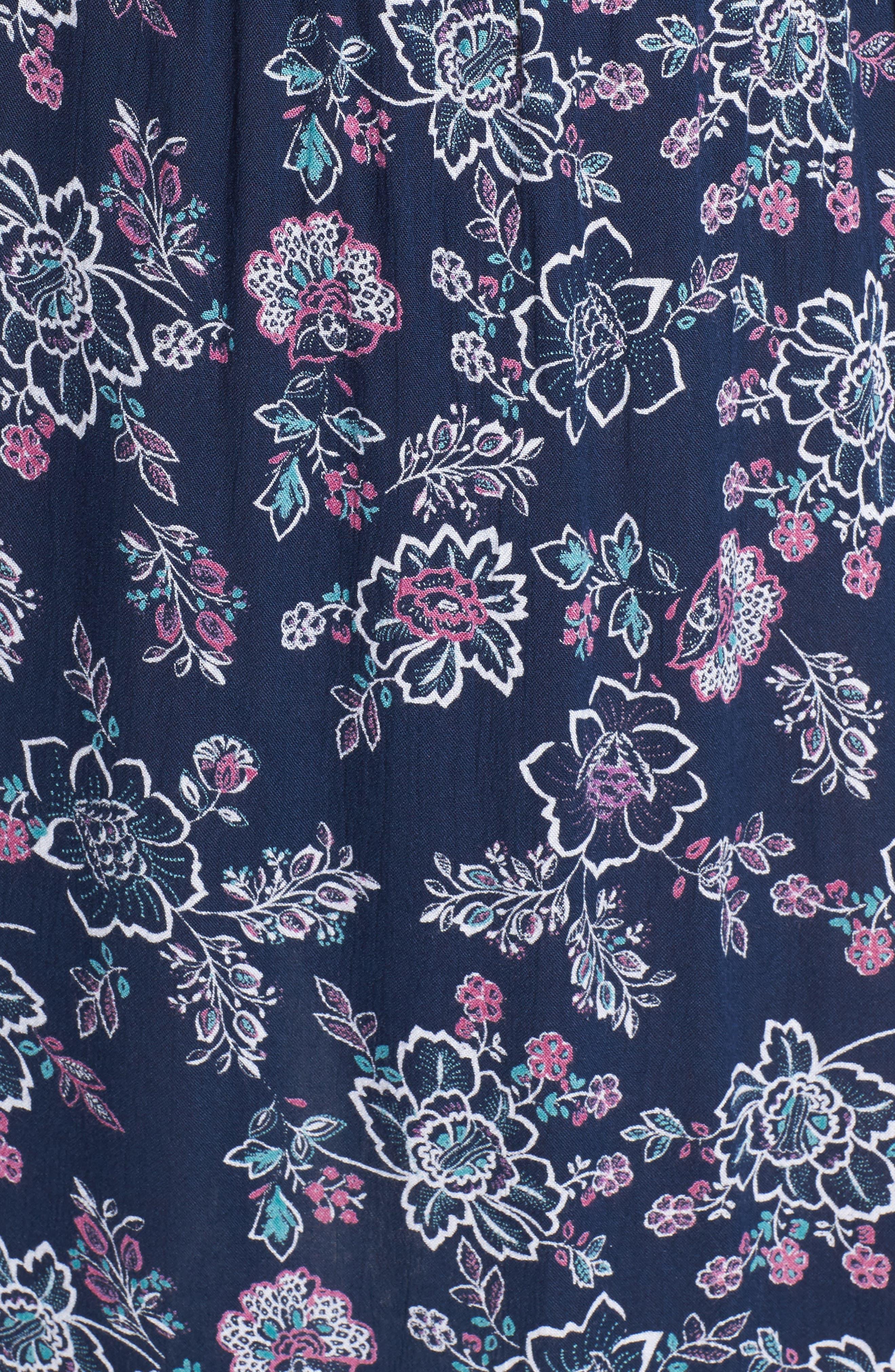 Floral Print Crochet Trim Dress,                             Alternate thumbnail 5, color,                             Navy