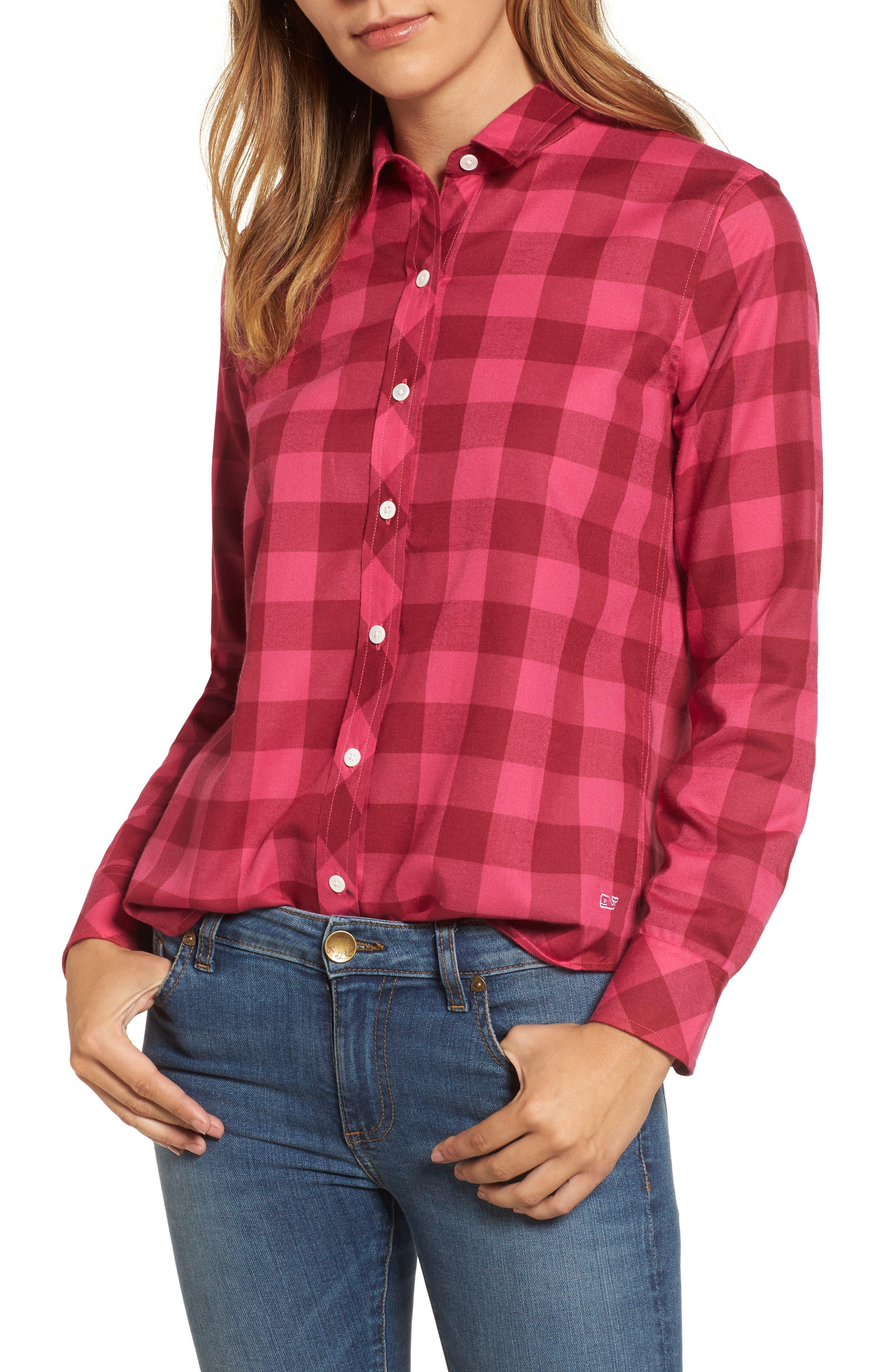 Carmel Relaxed Buffalo Check Shirt,                         Main,                         color, Beet Red