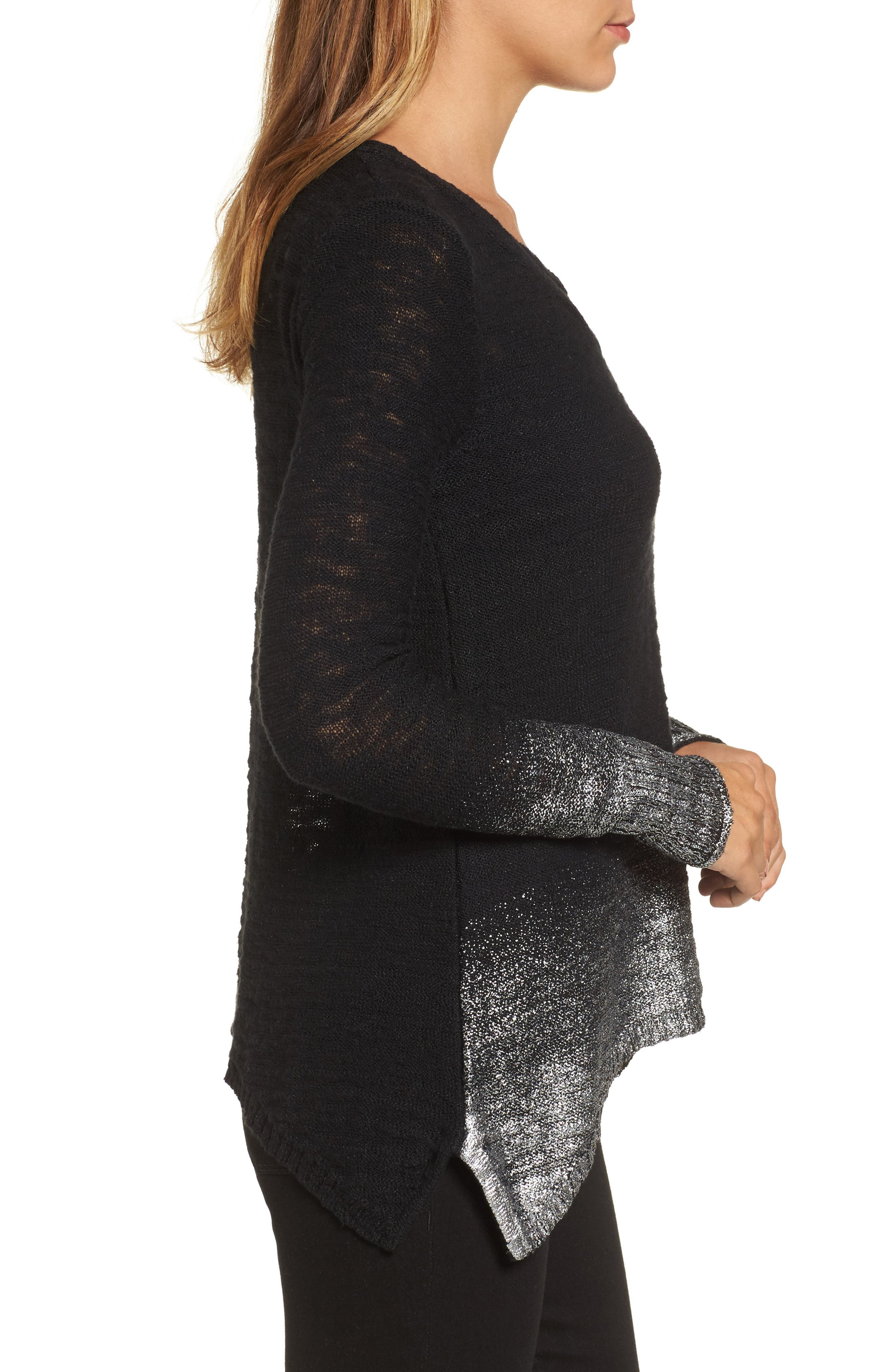 Foil Dipped Sweater,                             Alternate thumbnail 3, color,                             Black Silver
