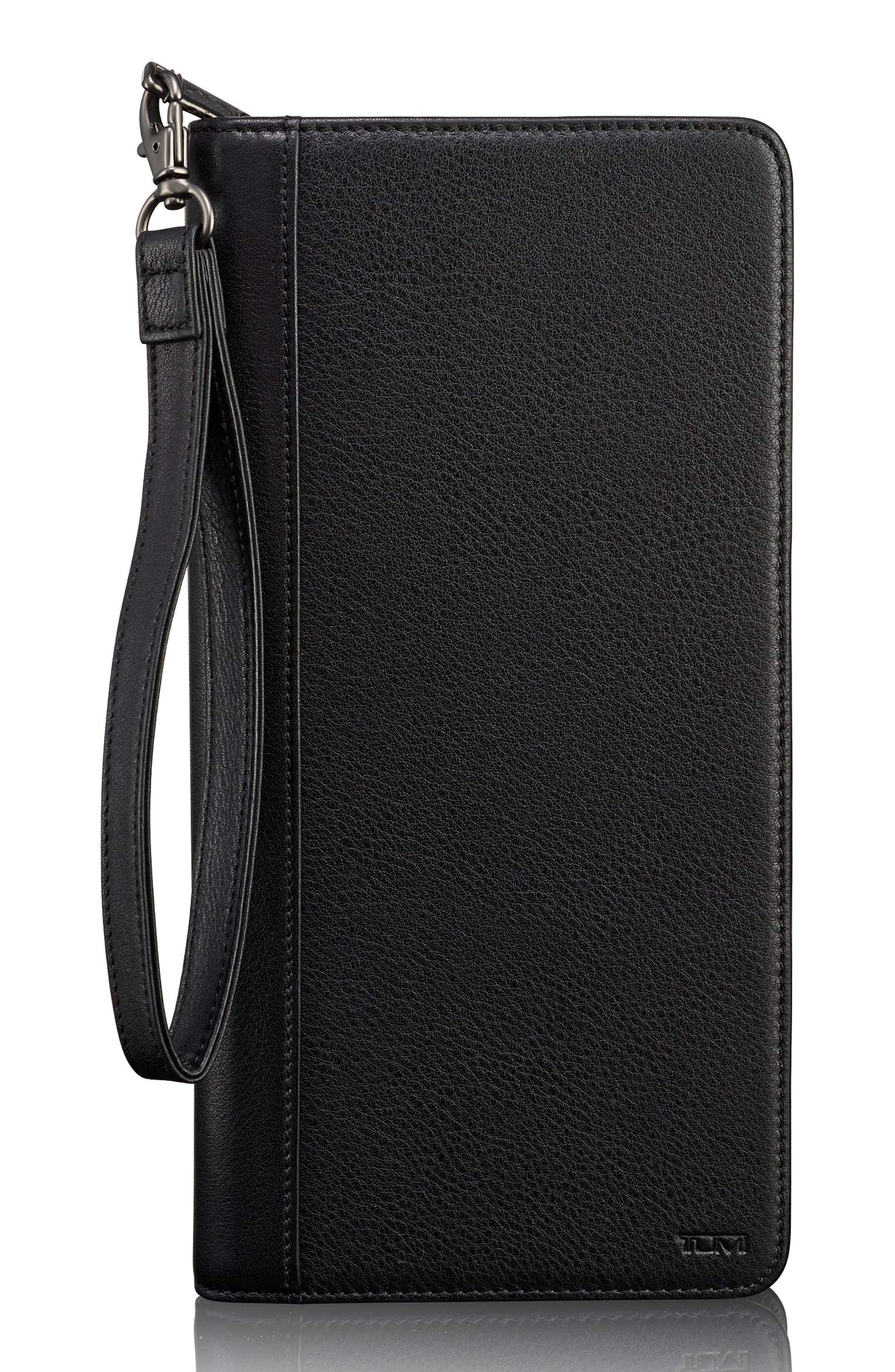 Leather Zip Wallet,                         Main,                         color, Black Textured