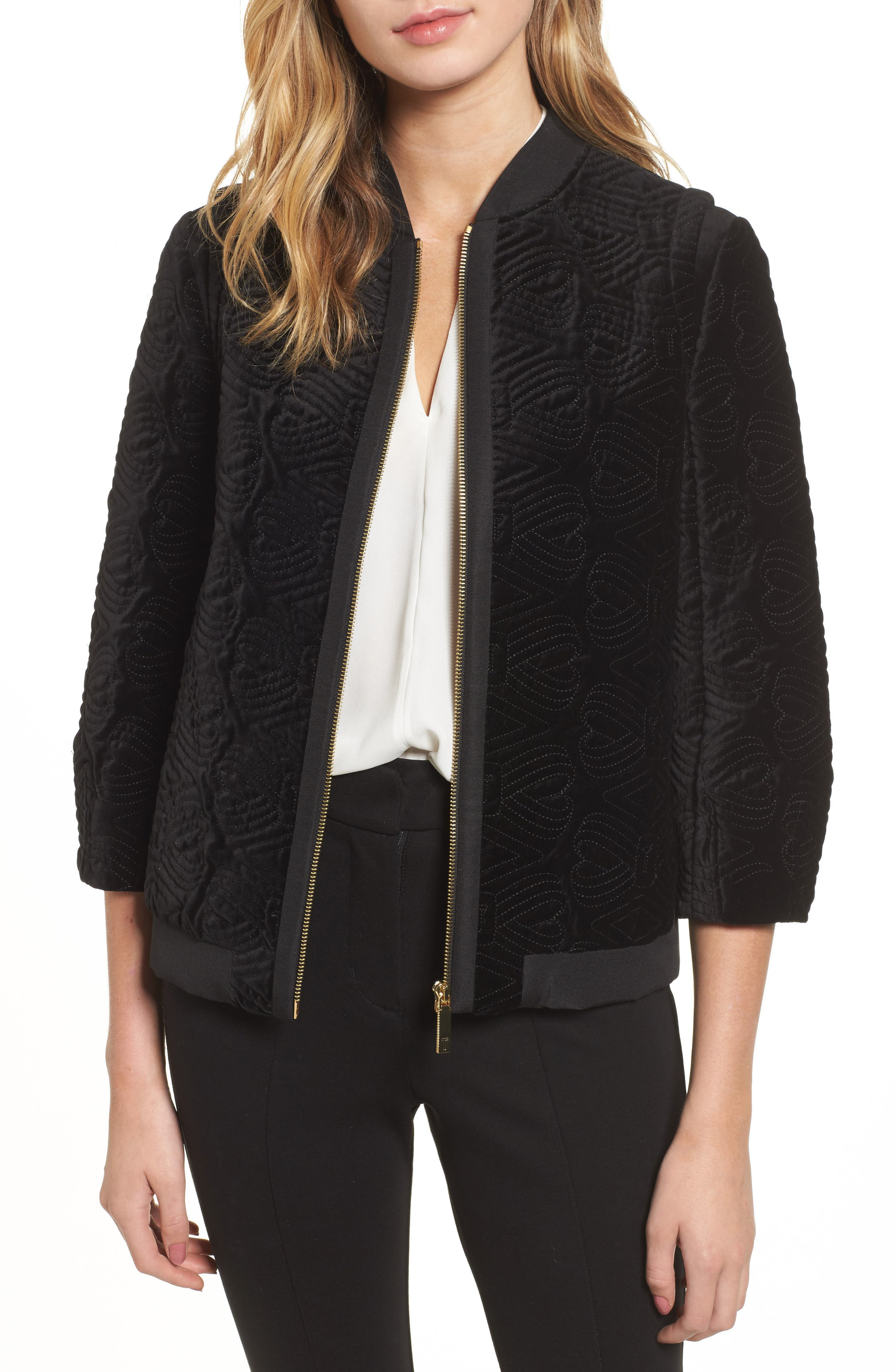 Main Image - Ted Baker London Quilted Velvet Bomber Jacket