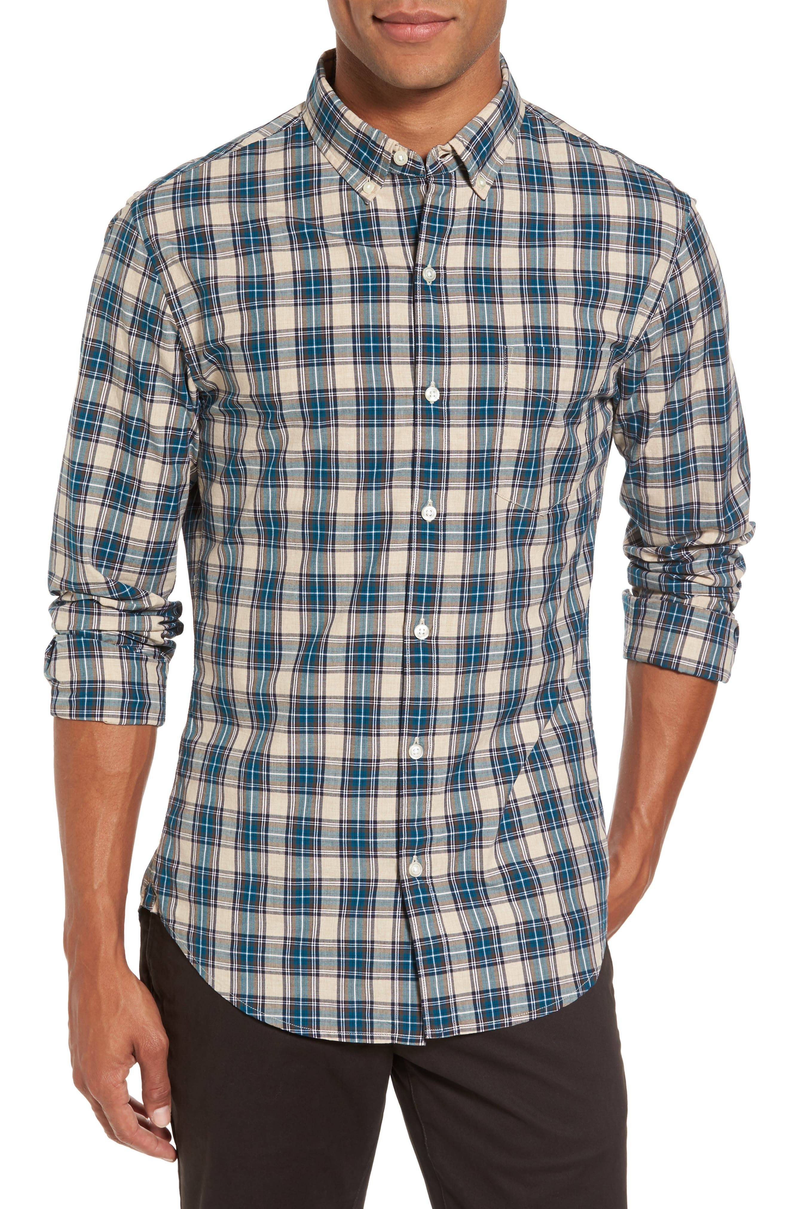 Washed Slim Fit Plaid Sport Shirt,                             Main thumbnail 1, color,                             Blue Plaid
