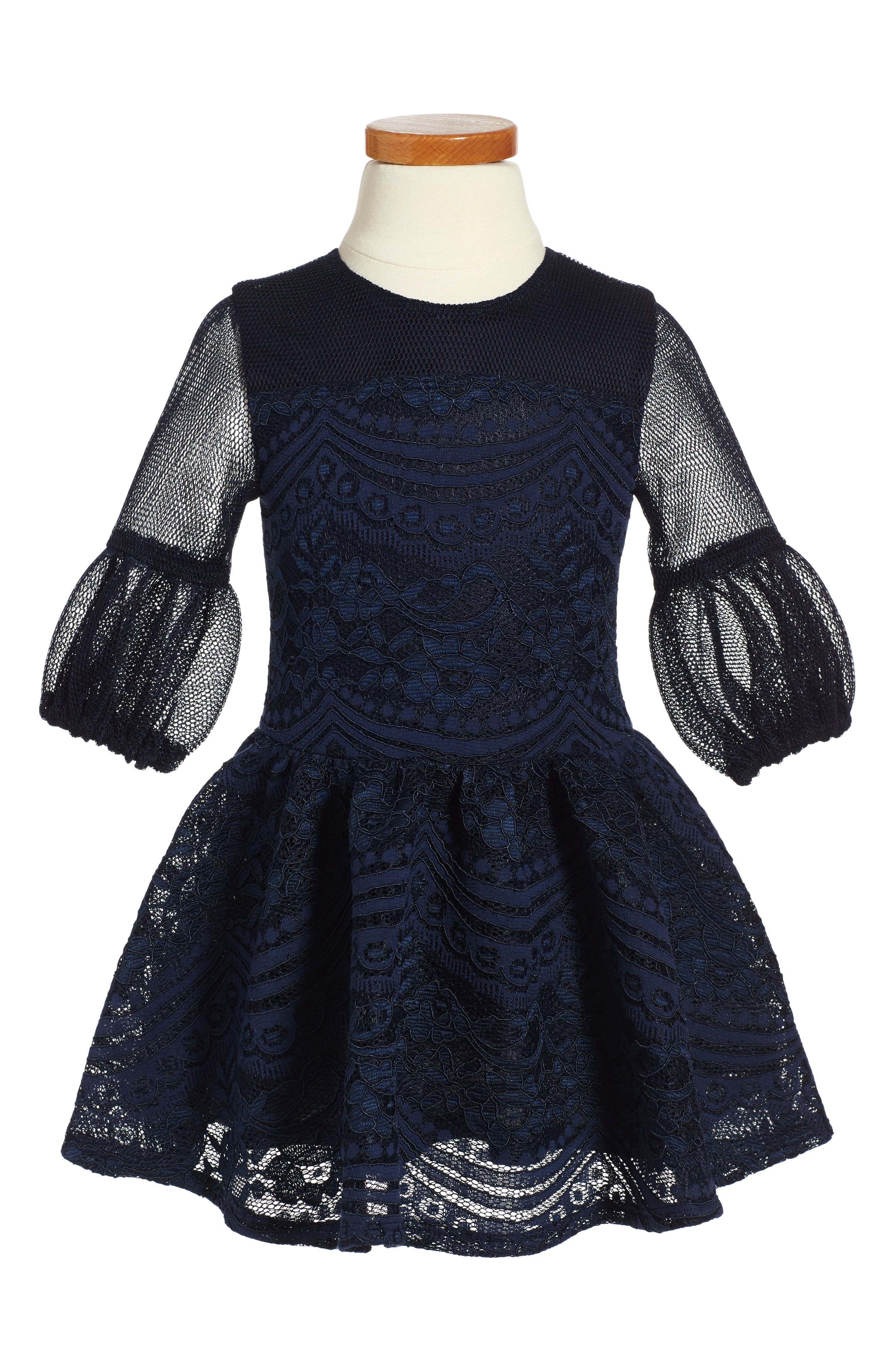 David Charles Techno Lace Dress (Toddler Girls & Little Girls)