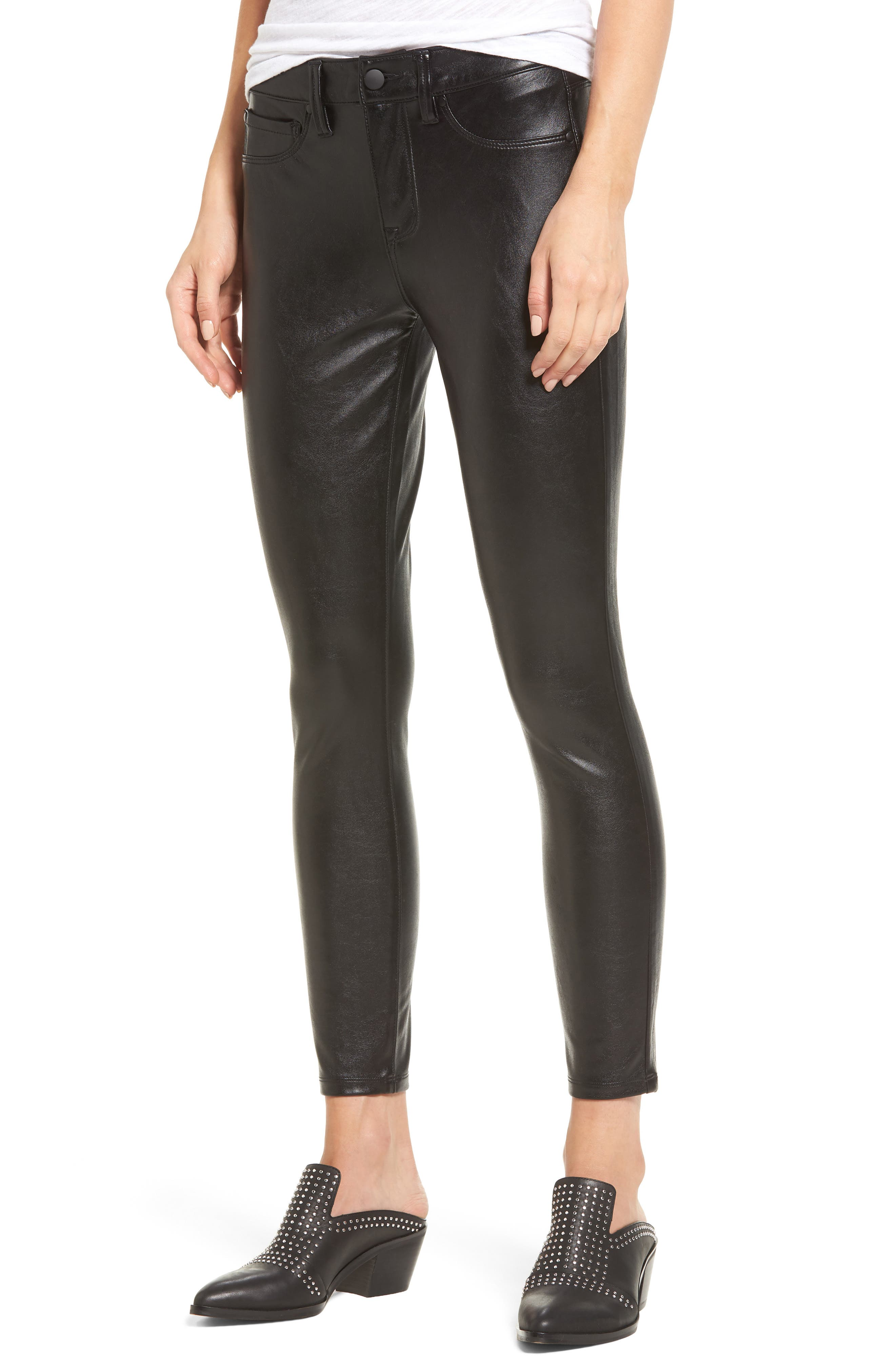 Faux Leather Skinny Jeans,                         Main,                         color, Black