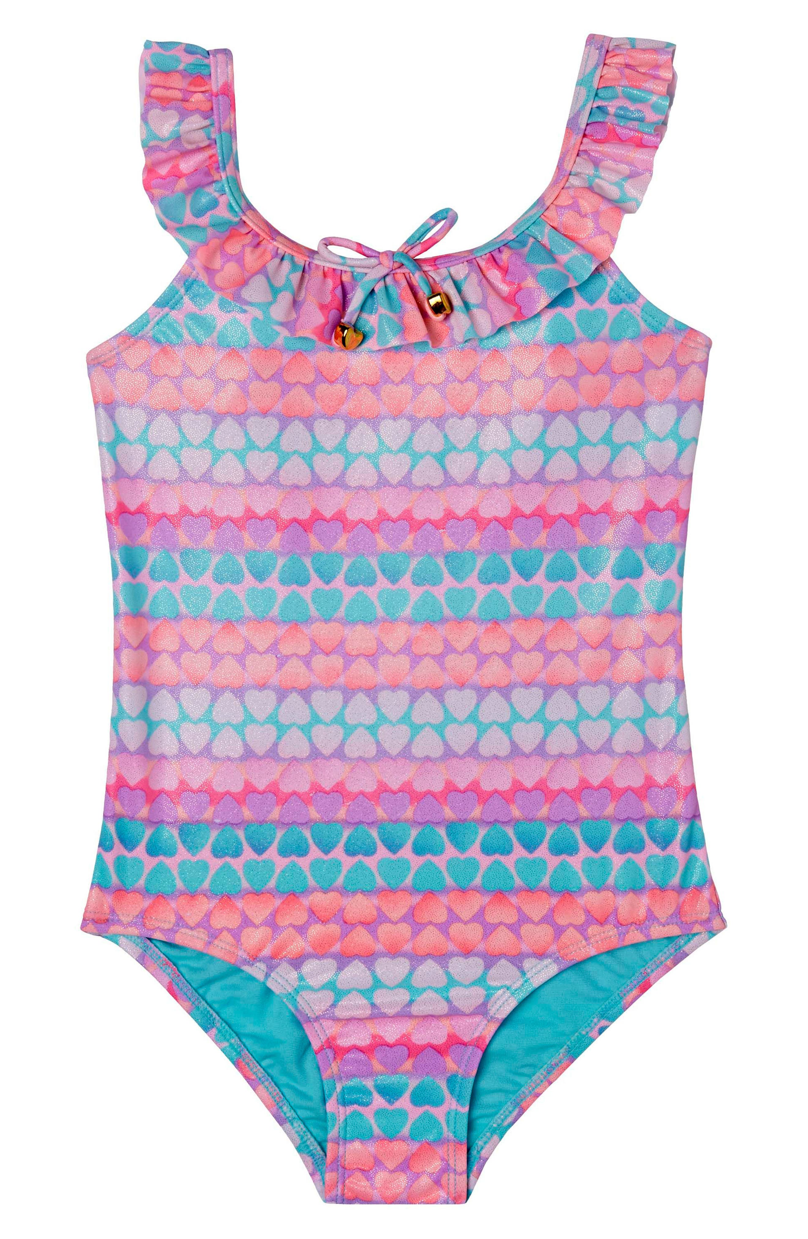 Alternate Image 1 Selected - Hula Star Hearts Galore One-Piece Swimsuit (Toddler Girls & Little Girls)