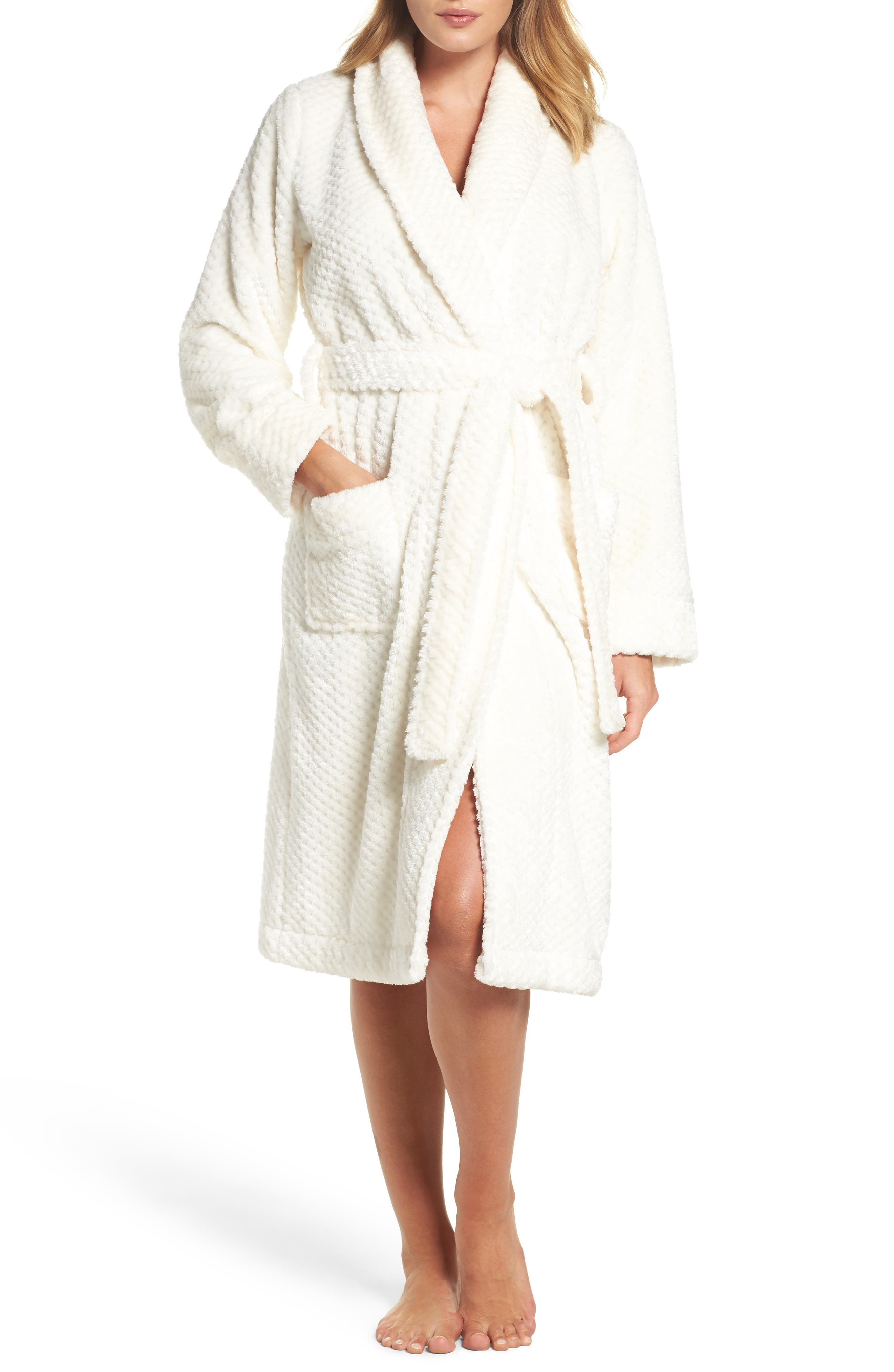 Nordstrom So Soft Plush Robe,                             Main thumbnail 1, color,                             Ivory Egret