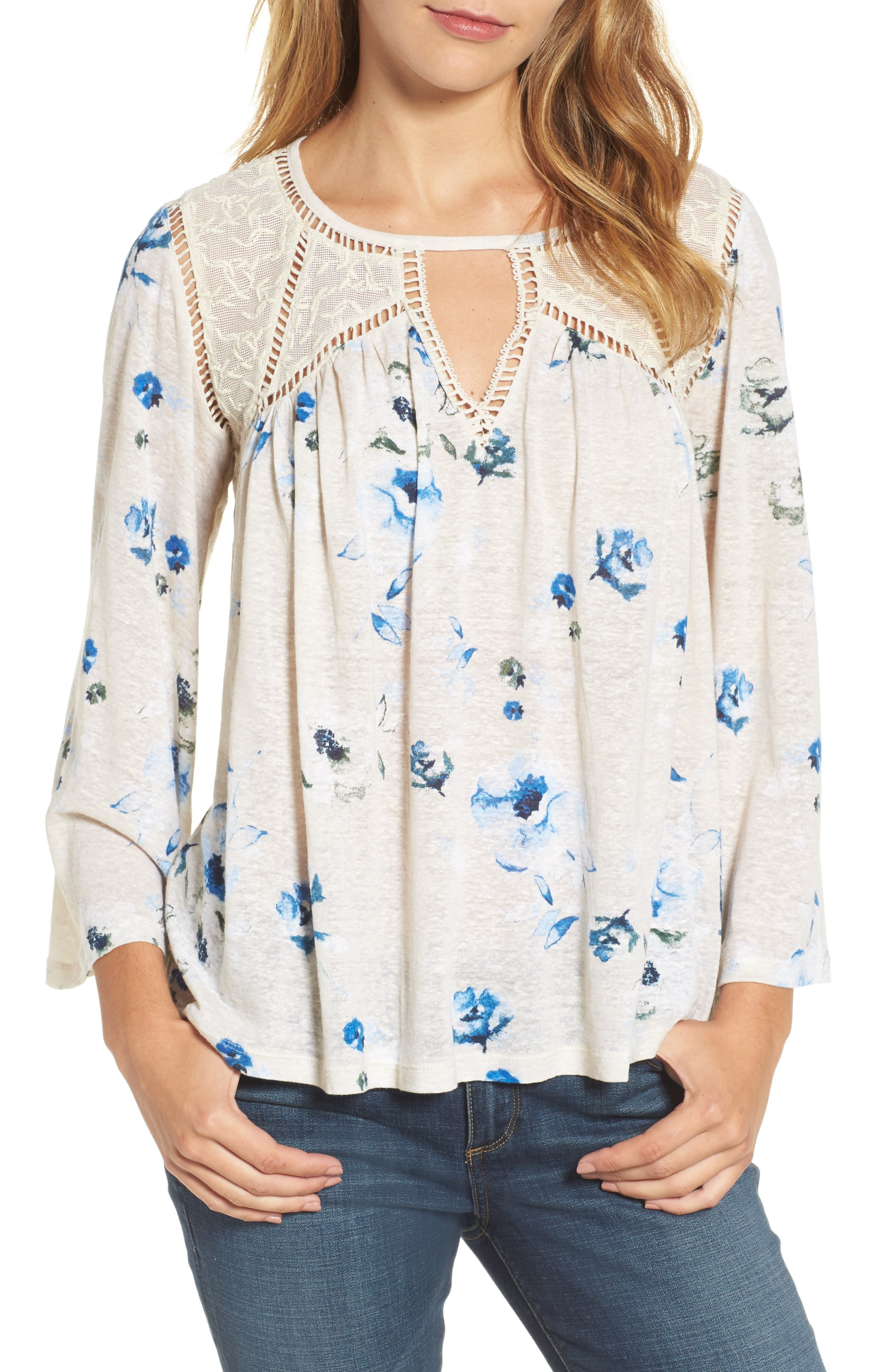 Lucky Brand Mesh Lace Watercolor Peasant Top
