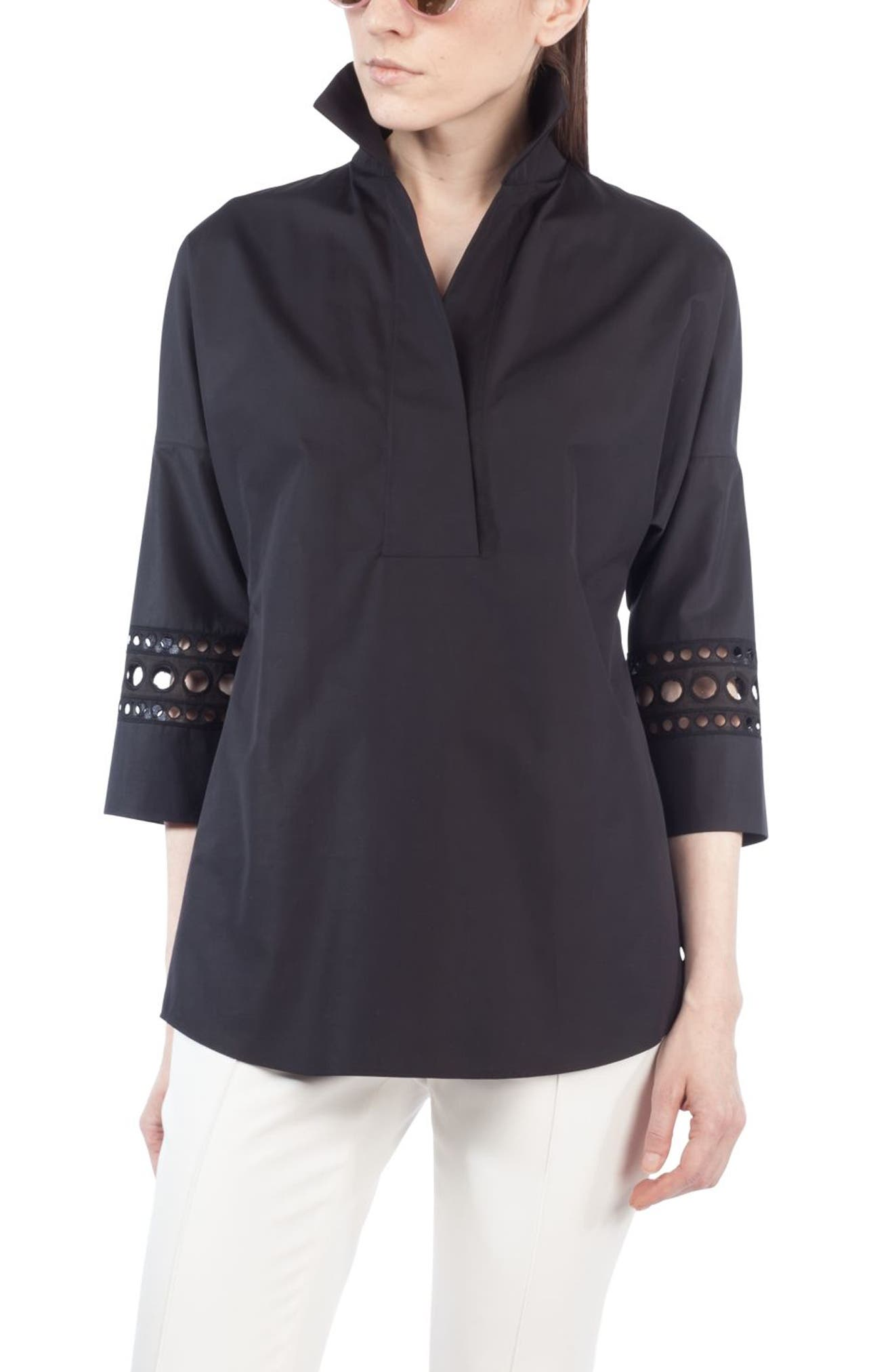 Lace Trim Kimono Blouse,                         Main,                         color, Black