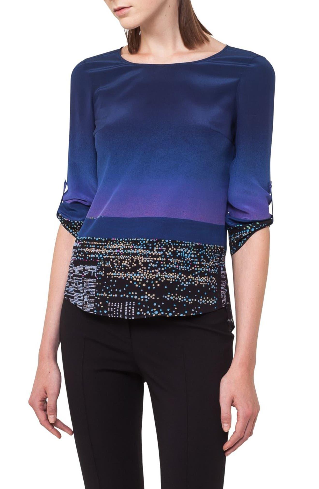 Akris punto Twilight Print Silk Blouse