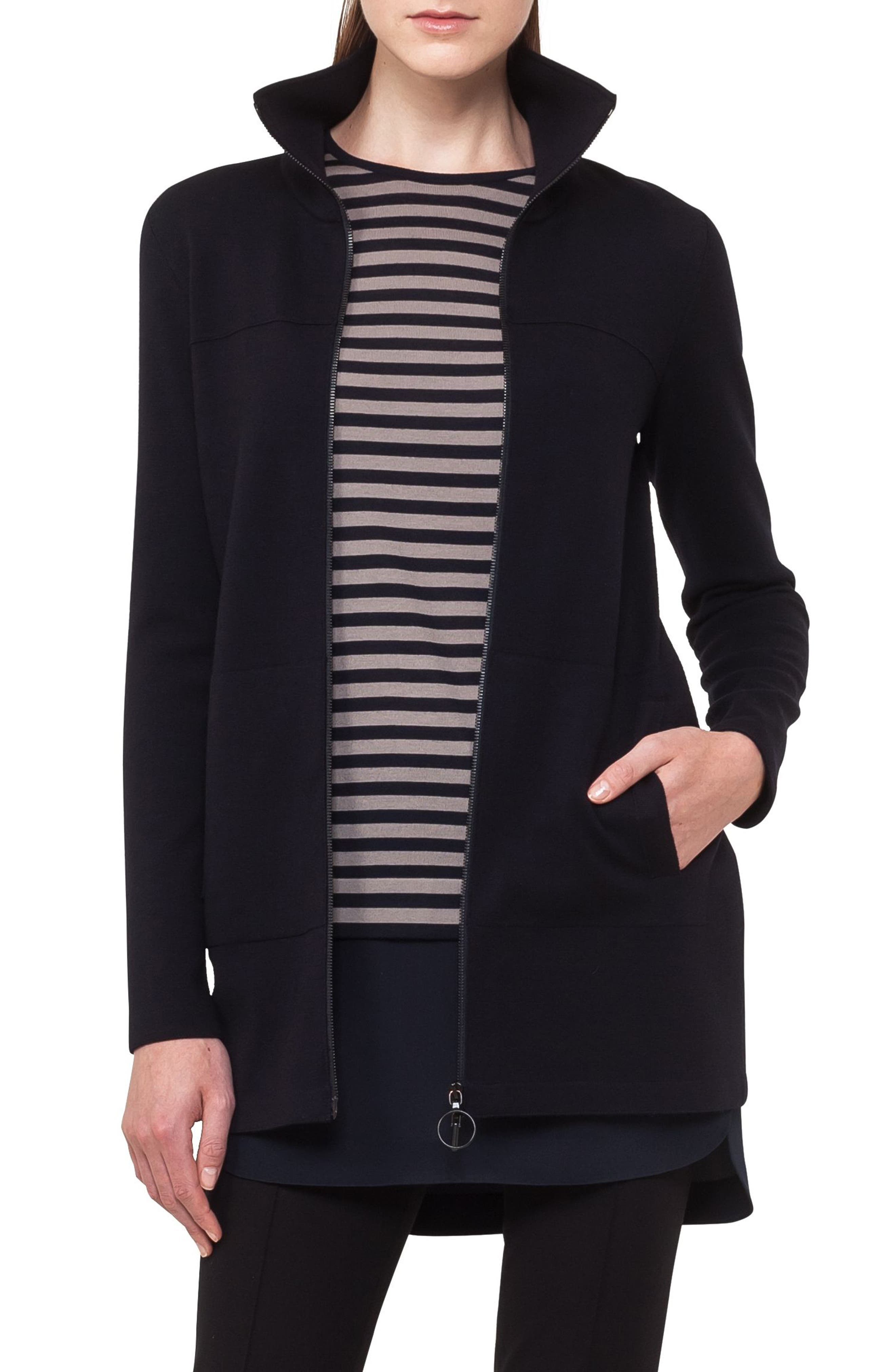 Stretch Wool Milano Knit Cardigan,                         Main,                         color, Navy
