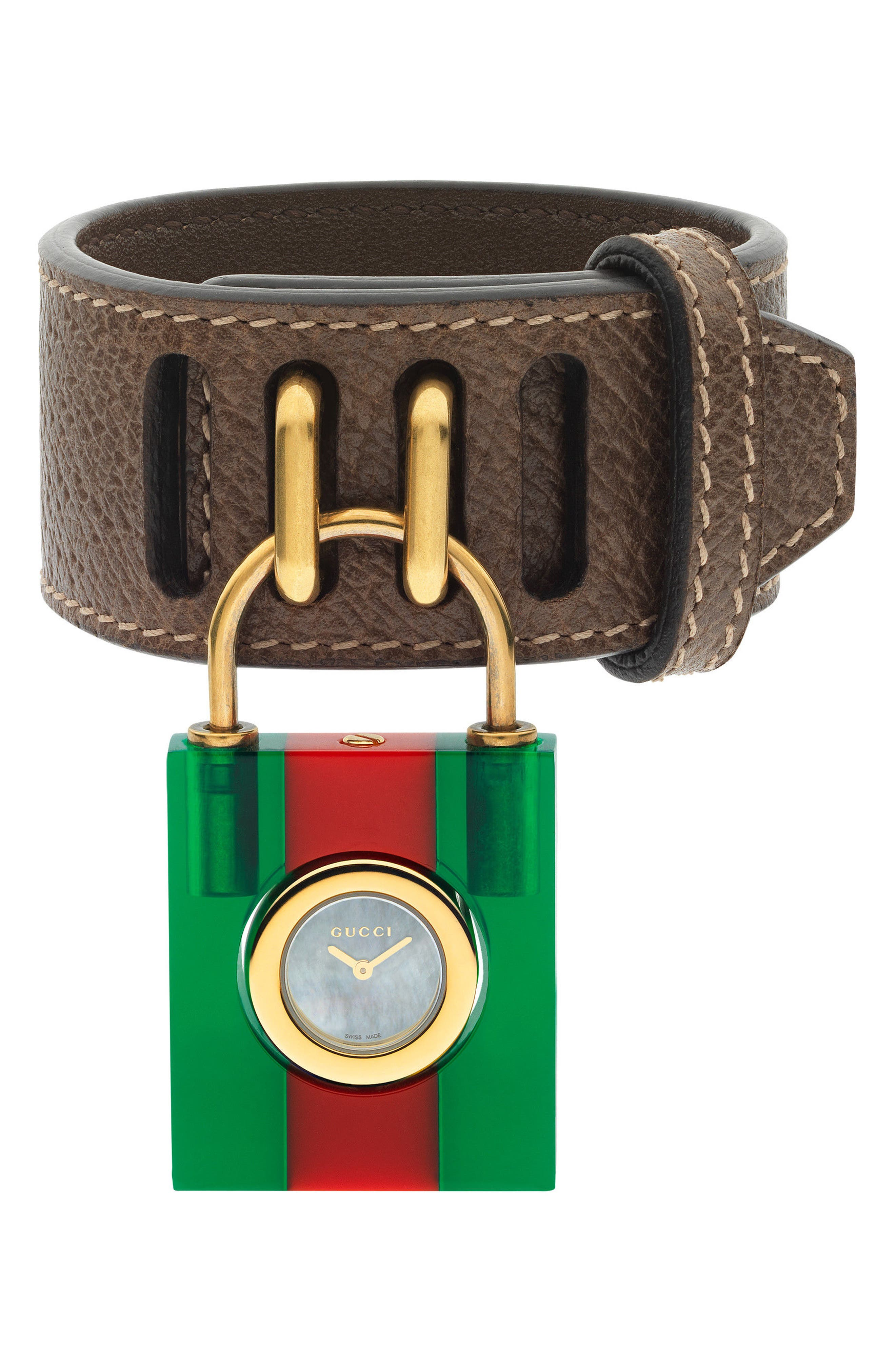 Twirl Small Leather Strap Padlock Watch, 17mm,                         Main,                         color, Green/ Red/ Gold