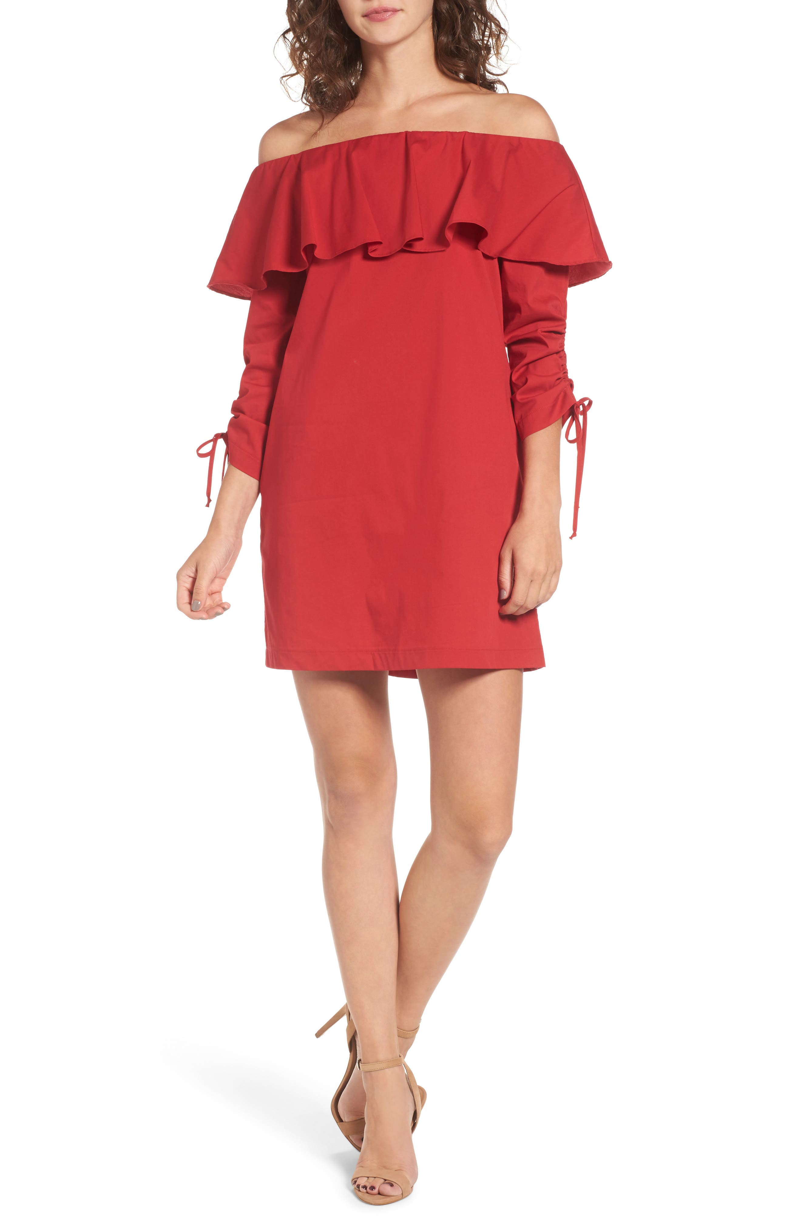 Cinch Sleeve Off the Shoulder Dress,                         Main,                         color, Red America