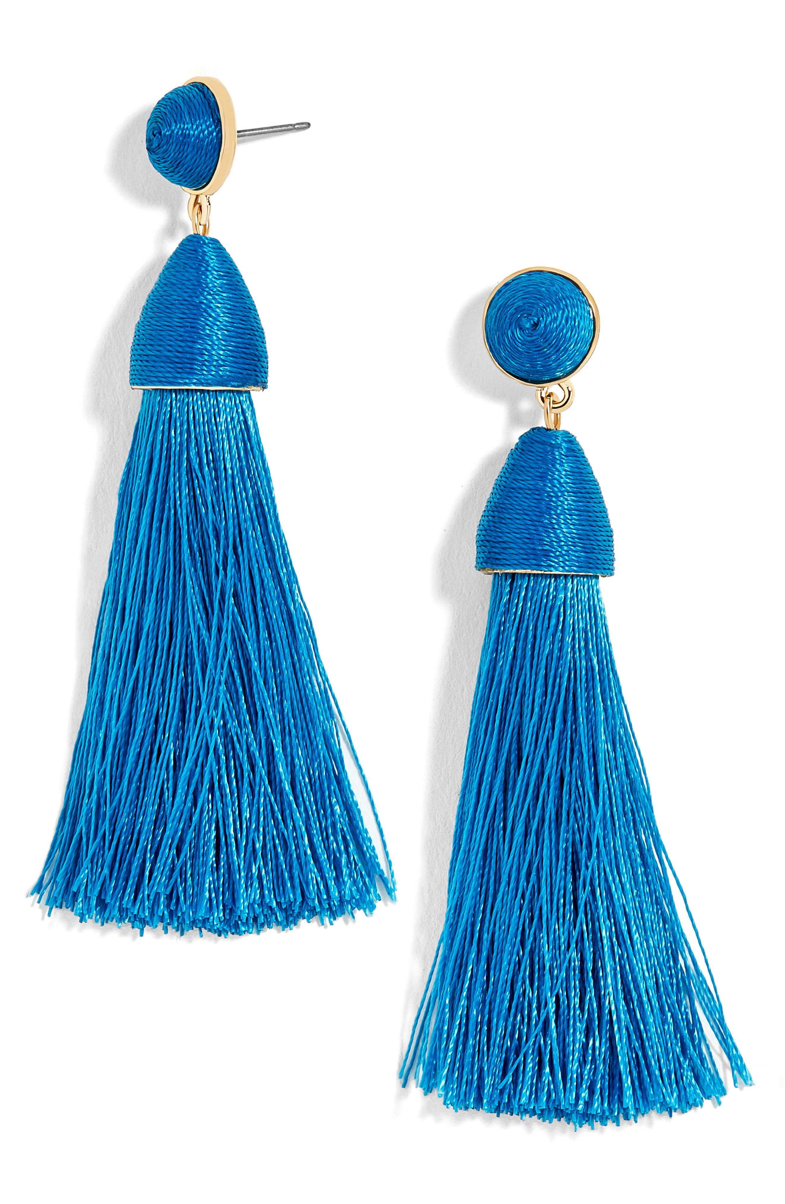Rosabella Tassel Drop Earrings,                             Main thumbnail 1, color,                             Bright Blue