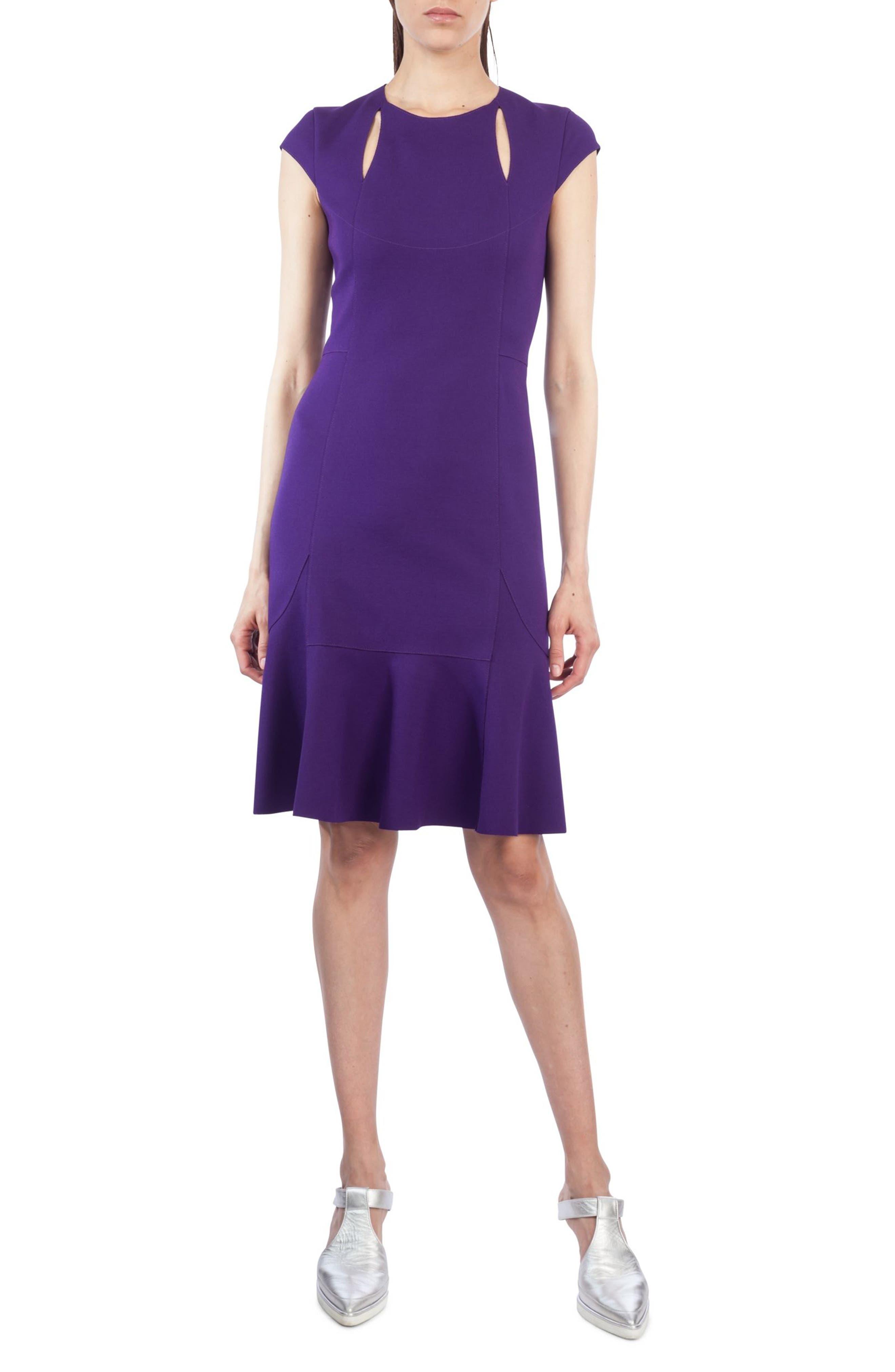 Main Image - Akris punto Cutout Flounce Hem Dress