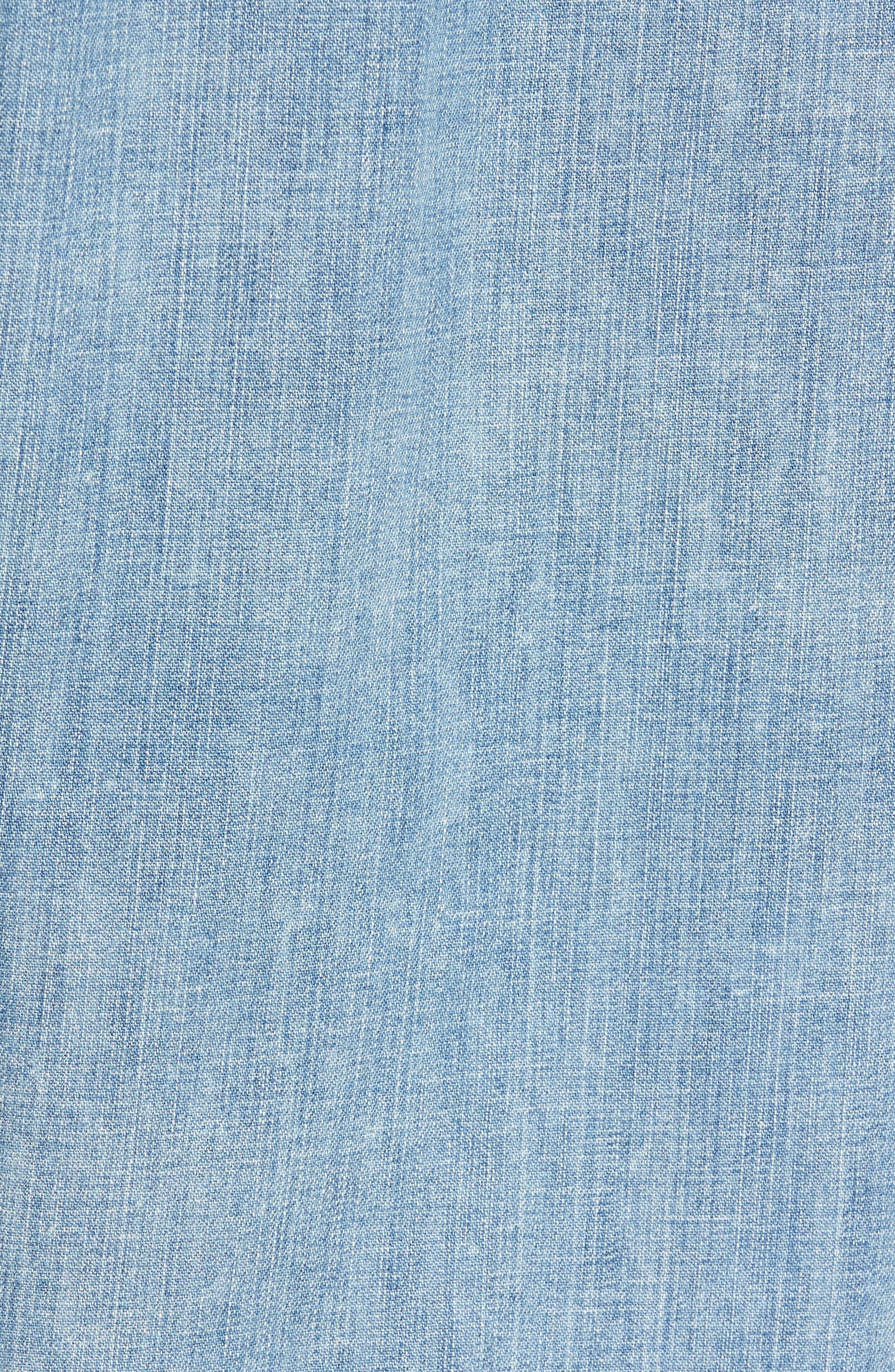 Distressed Denim Western Shirt,                             Alternate thumbnail 5, color,                             Denim Wash