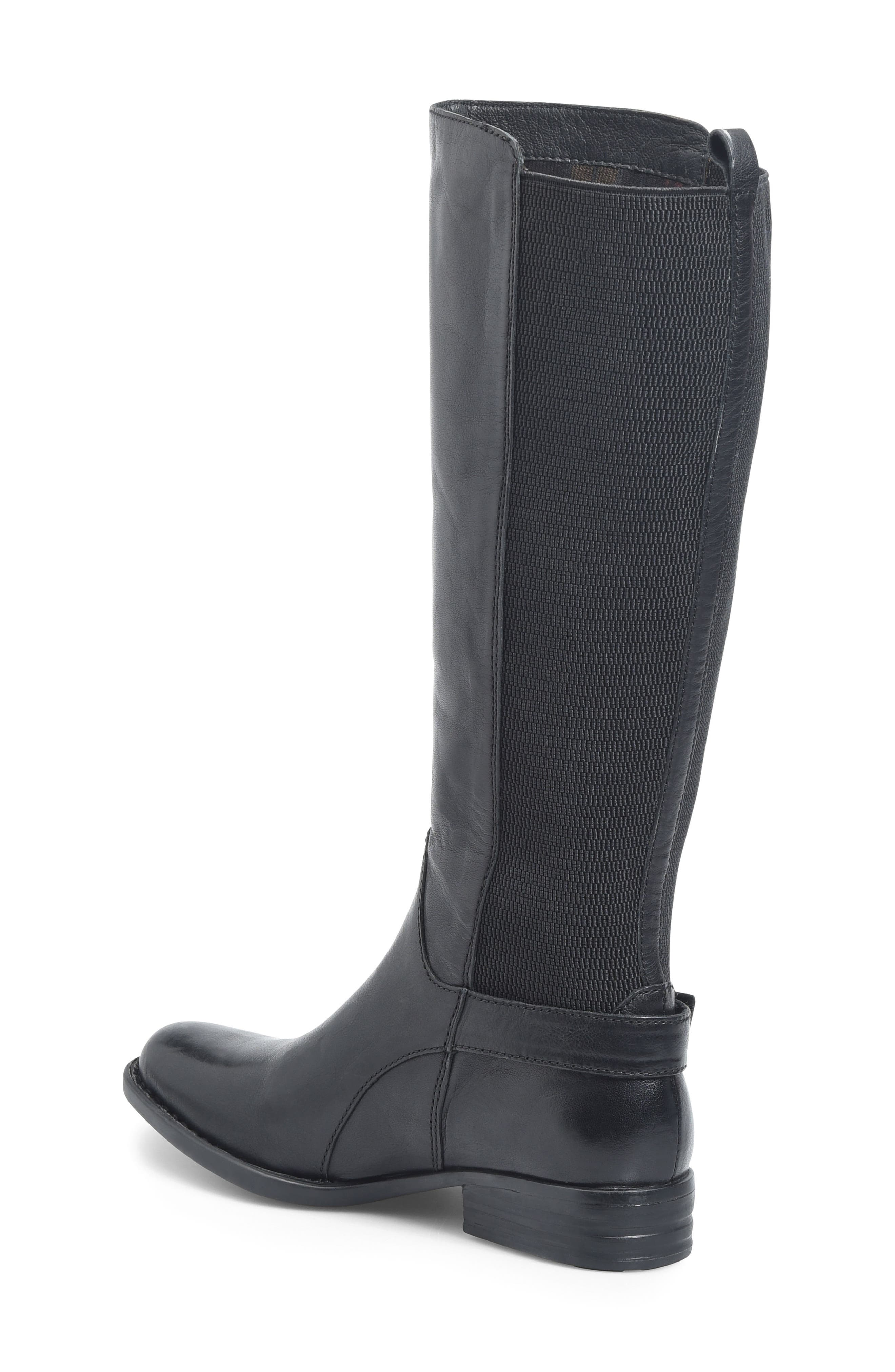 Campbell Knee High Elastic Back Boot,                             Alternate thumbnail 2, color,                             Black Leather