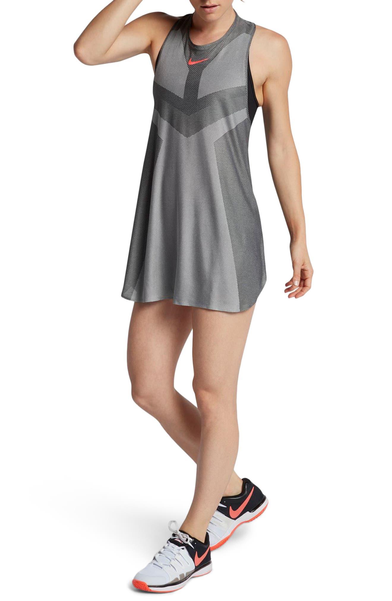 Court Dry Slam Tennis Dress,                         Main,                         color, Matte Silver/ Hot Punch