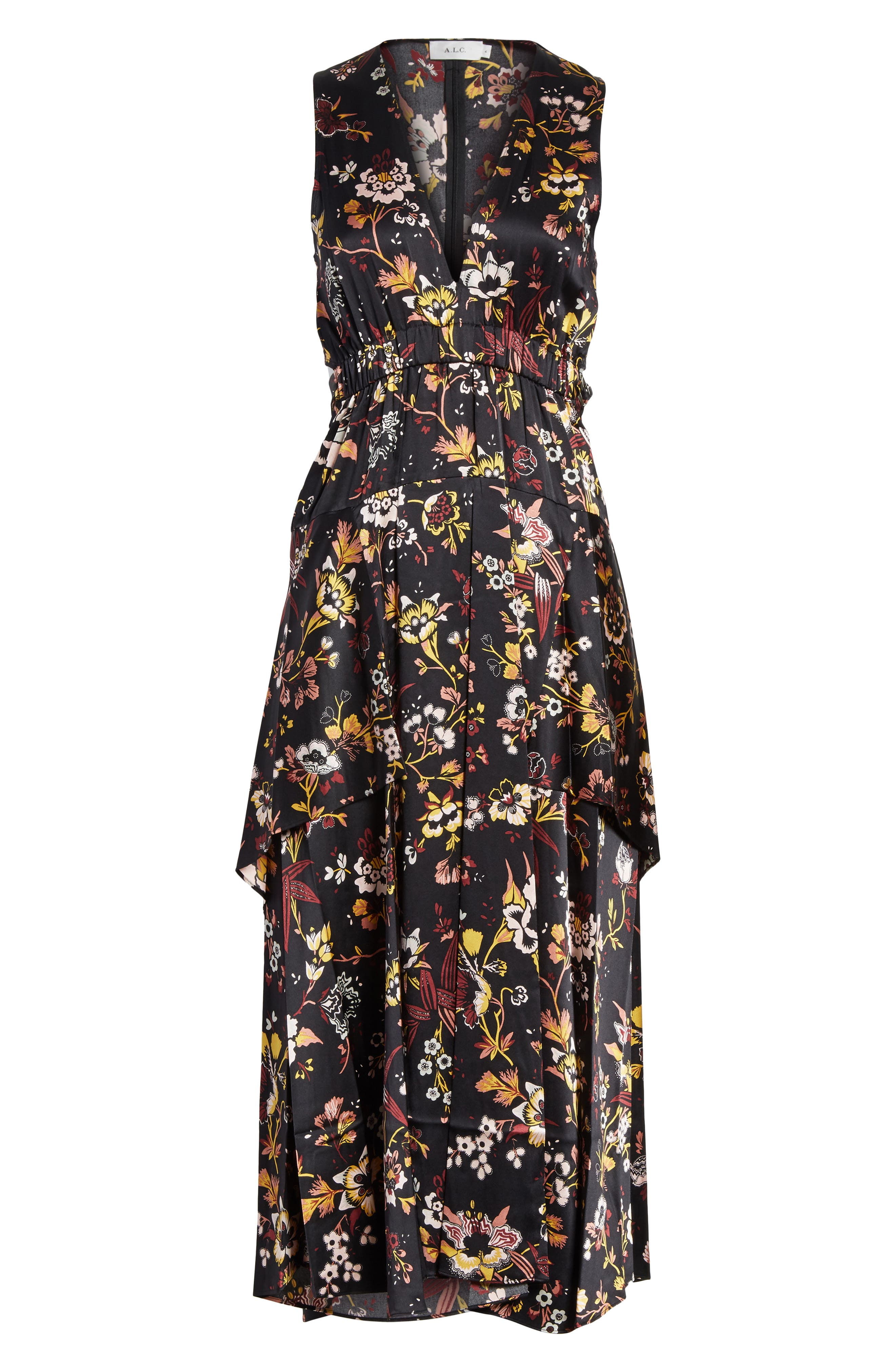 Verbena Floral Print Stretch Silk Dress,                             Alternate thumbnail 6, color,                             Black/ Grey/ Mustard