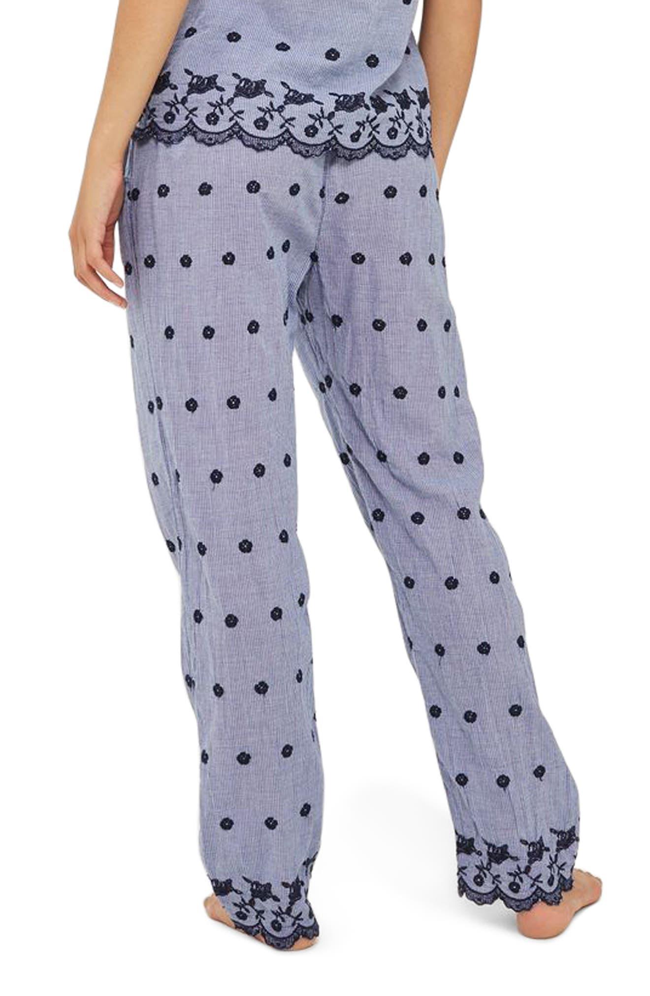 Alternate Image 2  - Topshop Embroidered Gingham Pajama Pants