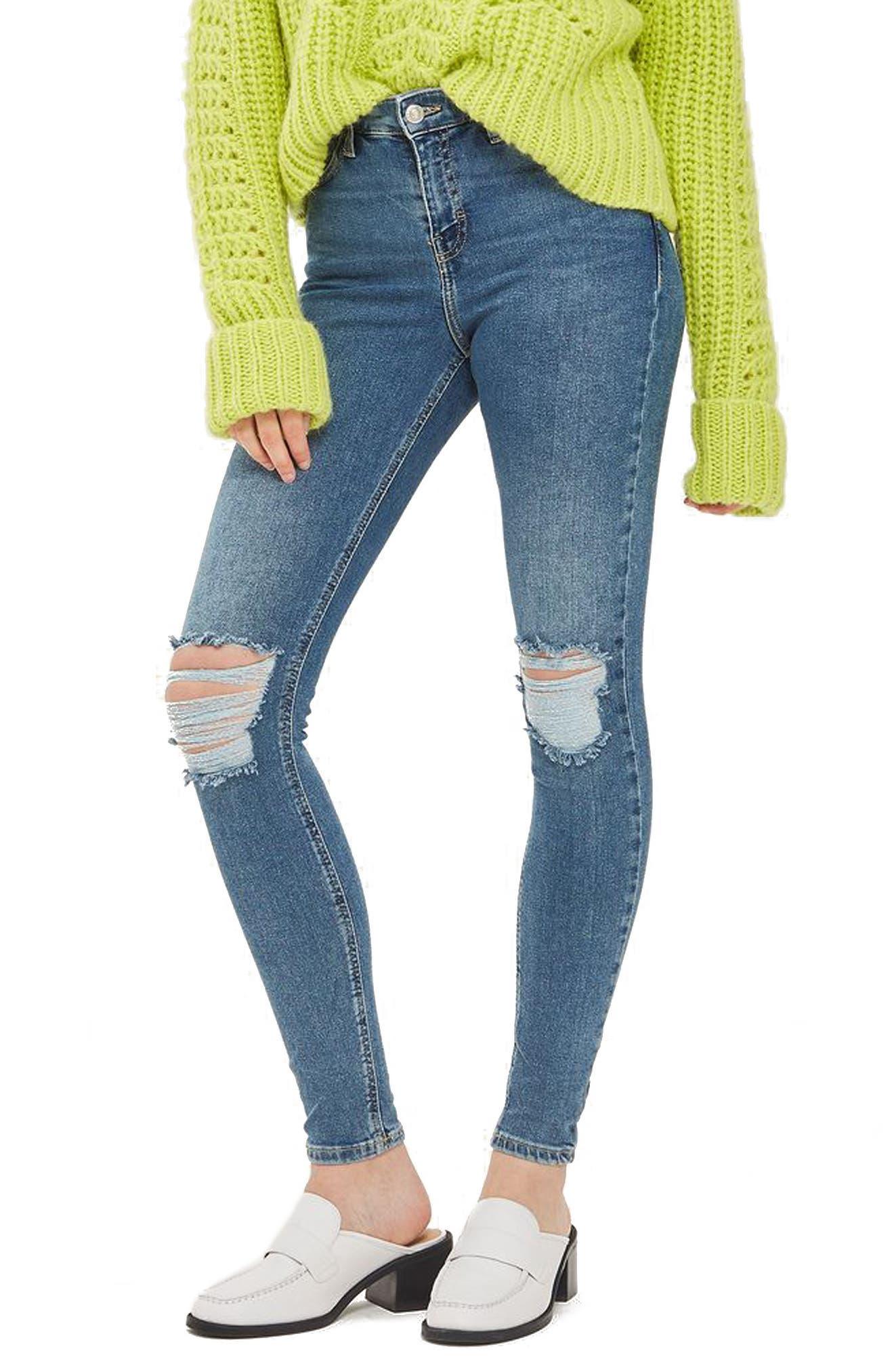 Jamie Rip High Waist Skinny Jeans,                             Main thumbnail 1, color,                             Mid Denim