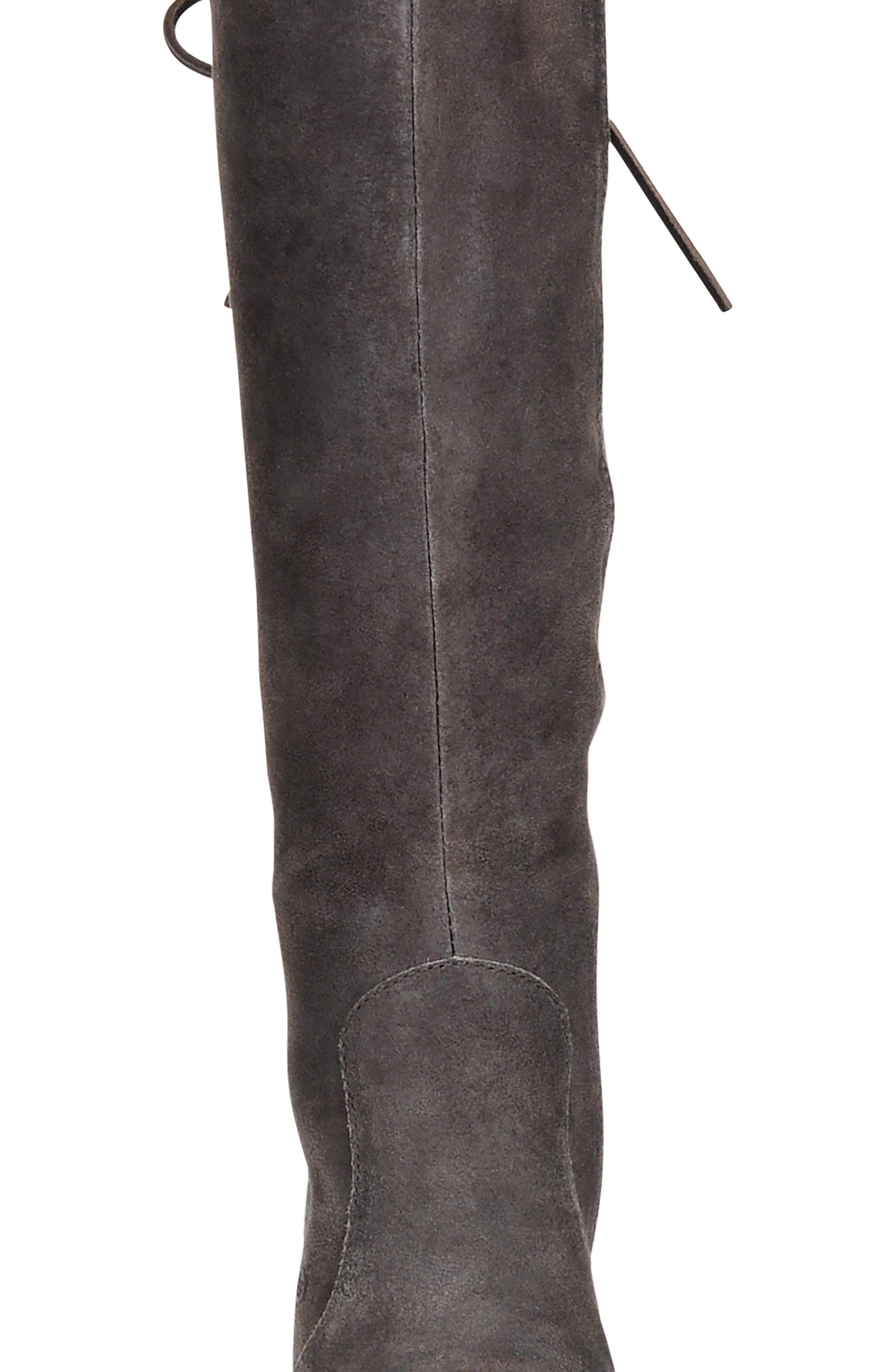 Felicia Knee High Boot,                             Alternate thumbnail 6, color,                             Grey Distressed Leather