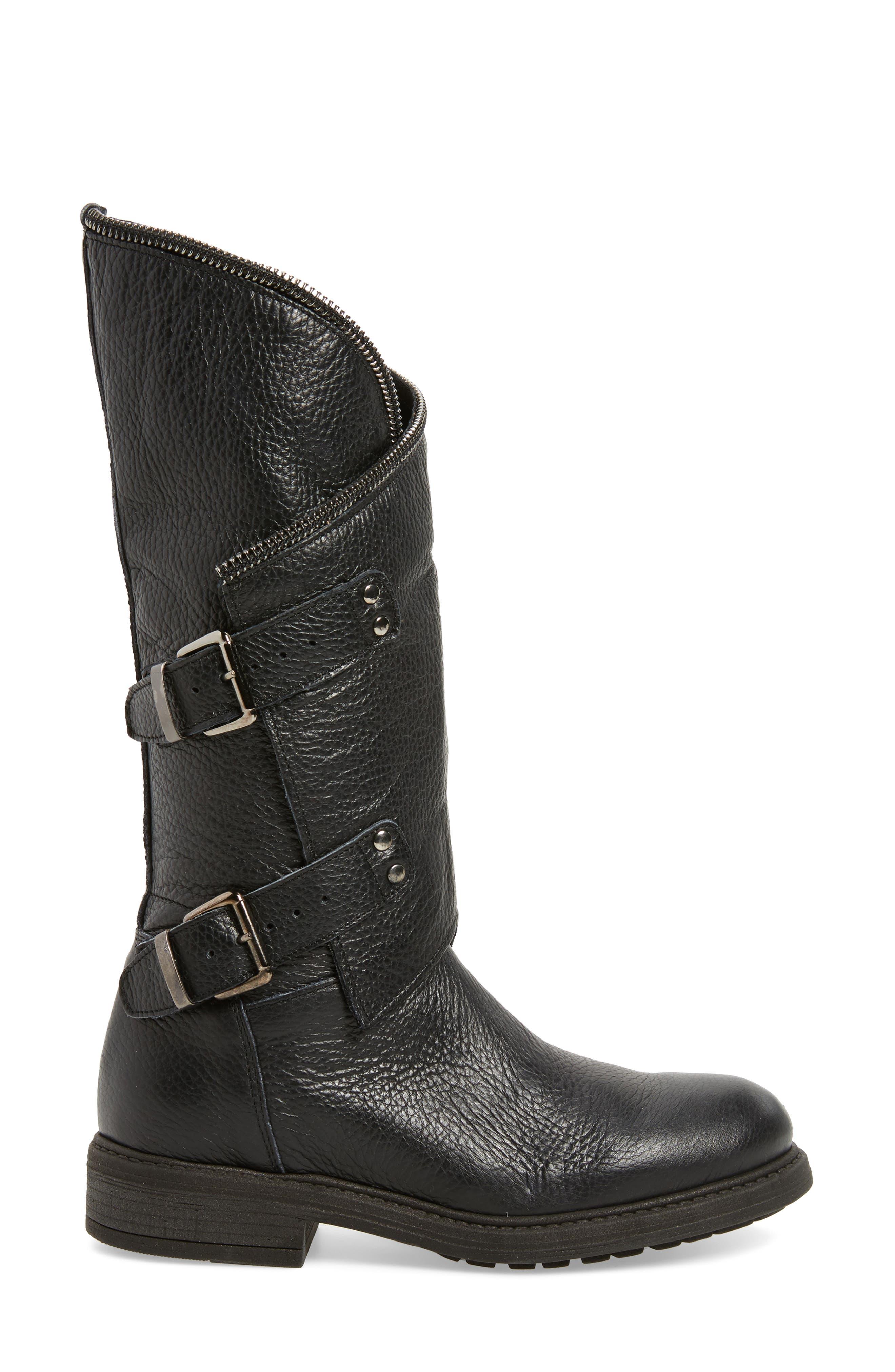 Bray Asymmetrical Zip Boot,                             Alternate thumbnail 3, color,                             Black Leather